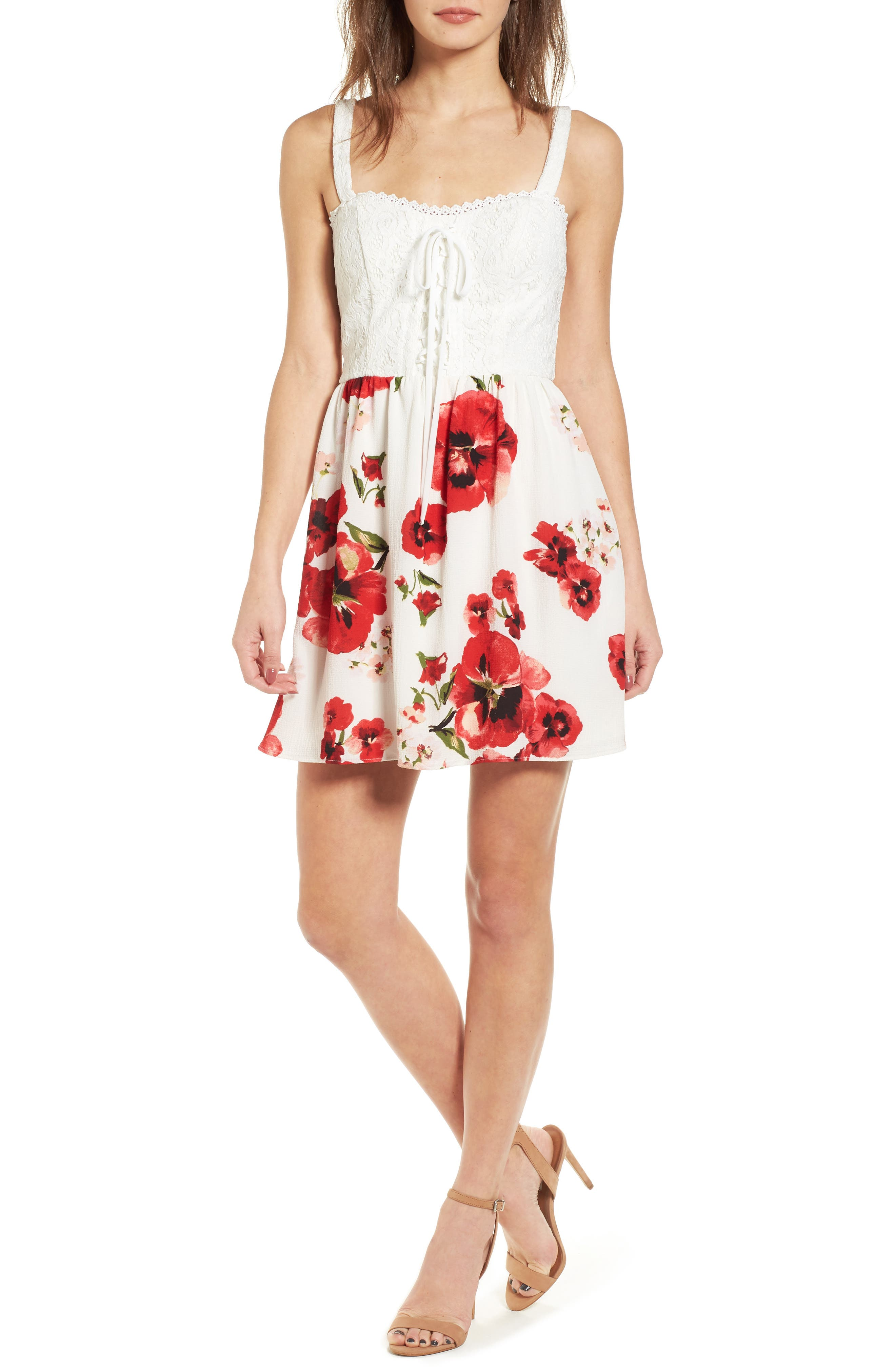 Lace Floral Fit and Flare Dress,                         Main,                         color, Ivory/ Red
