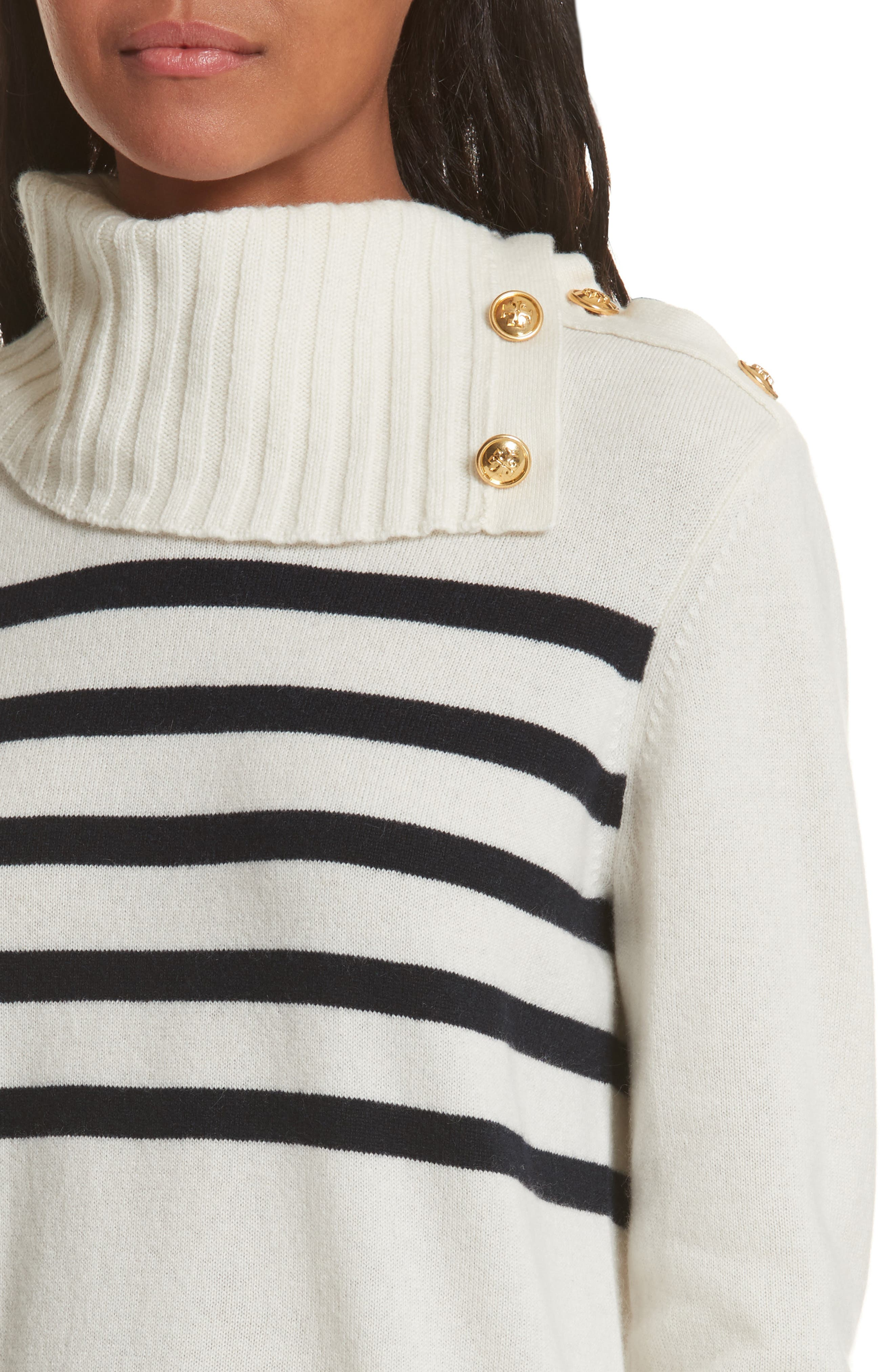 Sandra Cashmere Sweater,                             Alternate thumbnail 4, color,                             New Ivory / Tory Navy