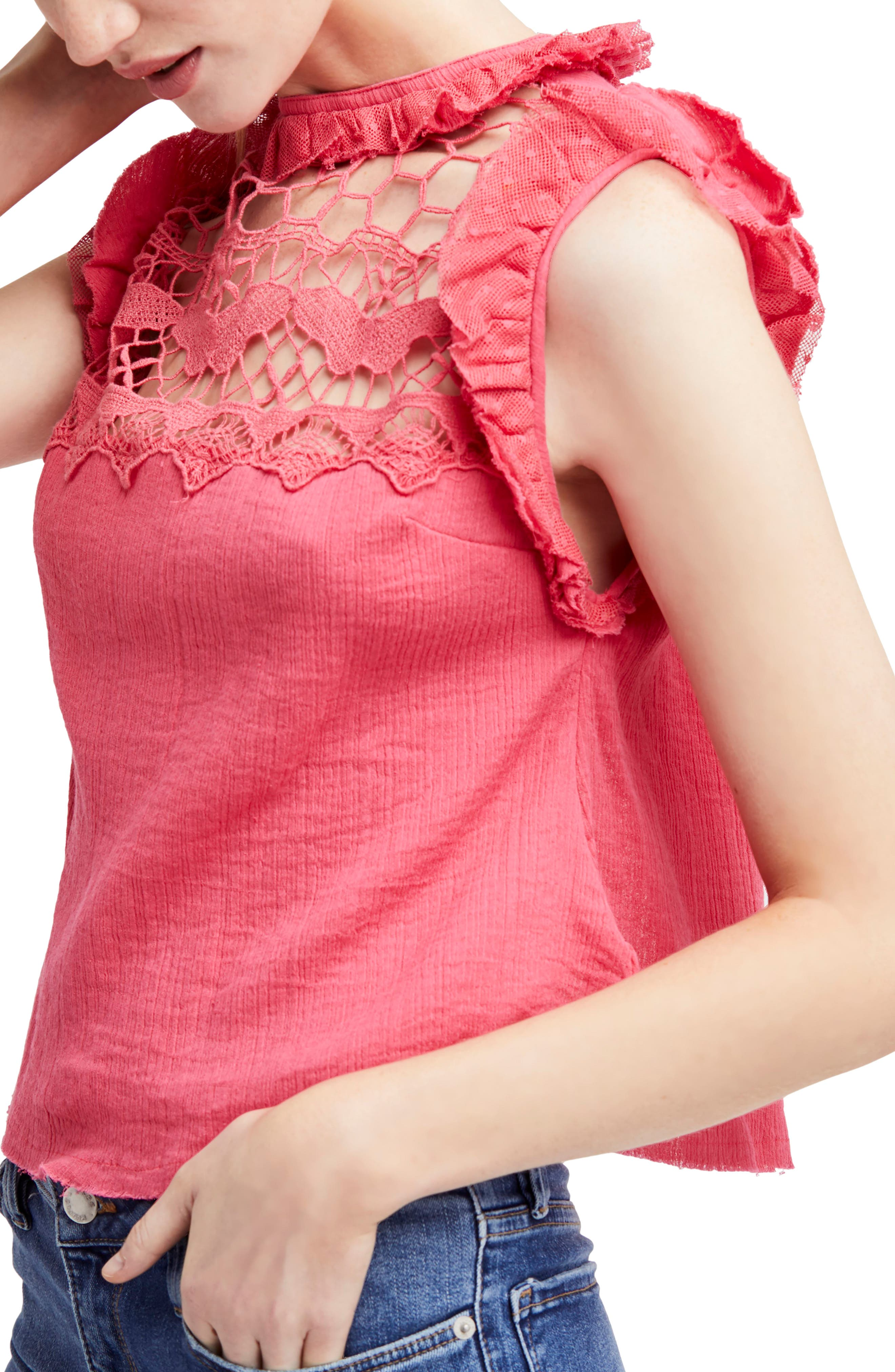 Simply Smiles Crochet Top,                         Main,                         color, Red
