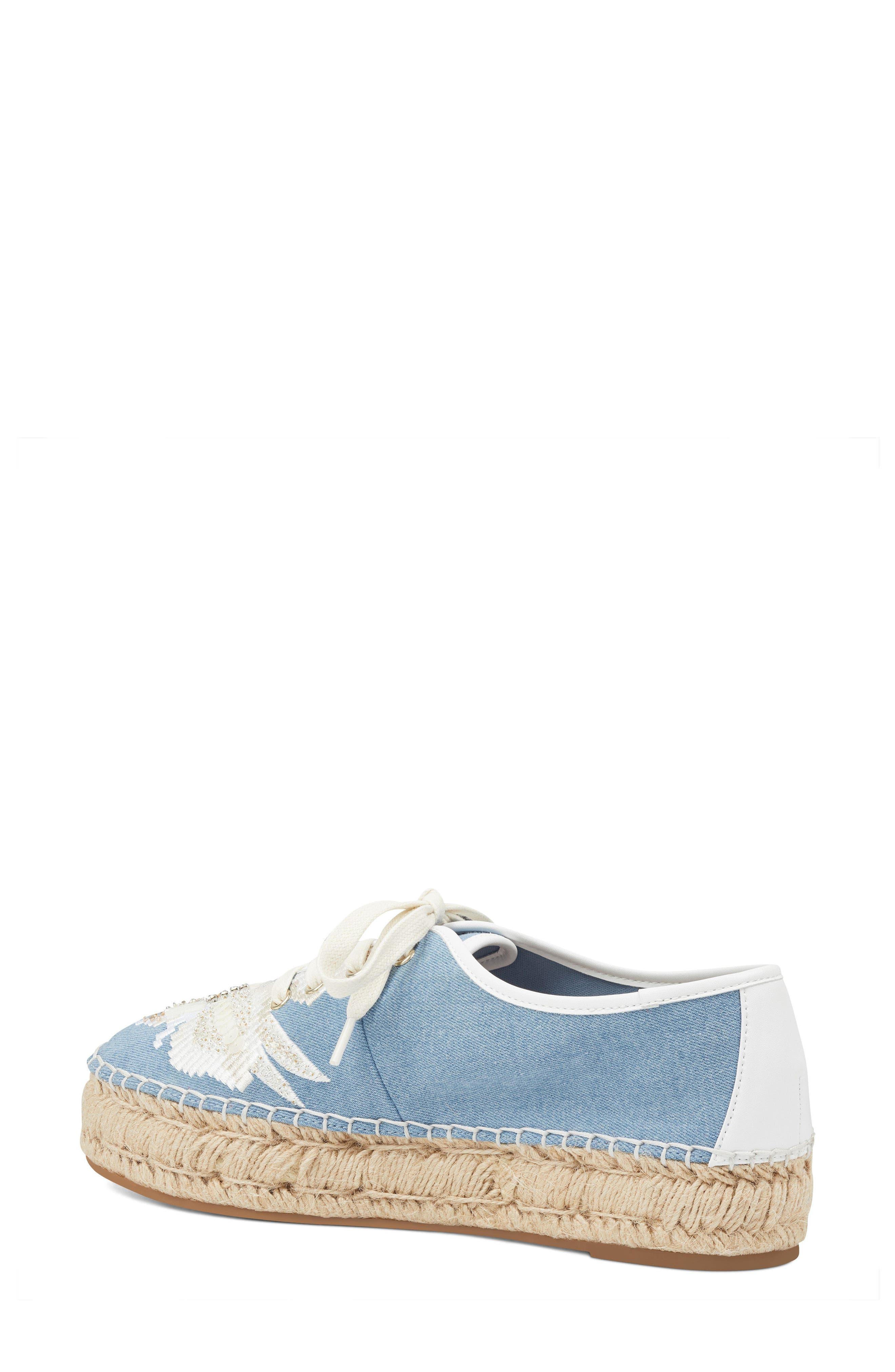Guinup Embellished Espadrille Sneaker,                             Alternate thumbnail 2, color,                             Light Blue/ White Denim