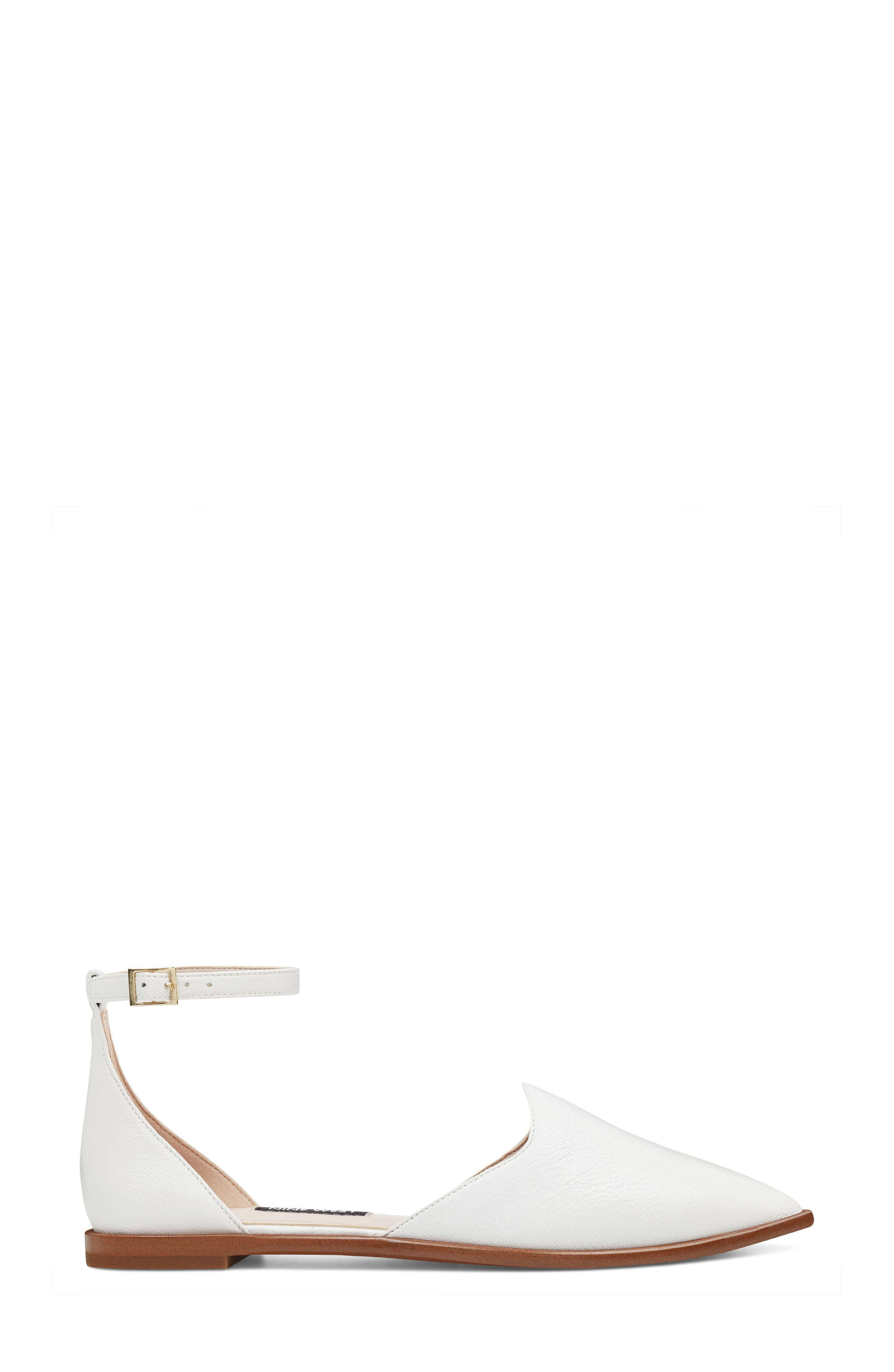 Oriona Ankle Strap Flat,                             Alternate thumbnail 3, color,                             White Leather