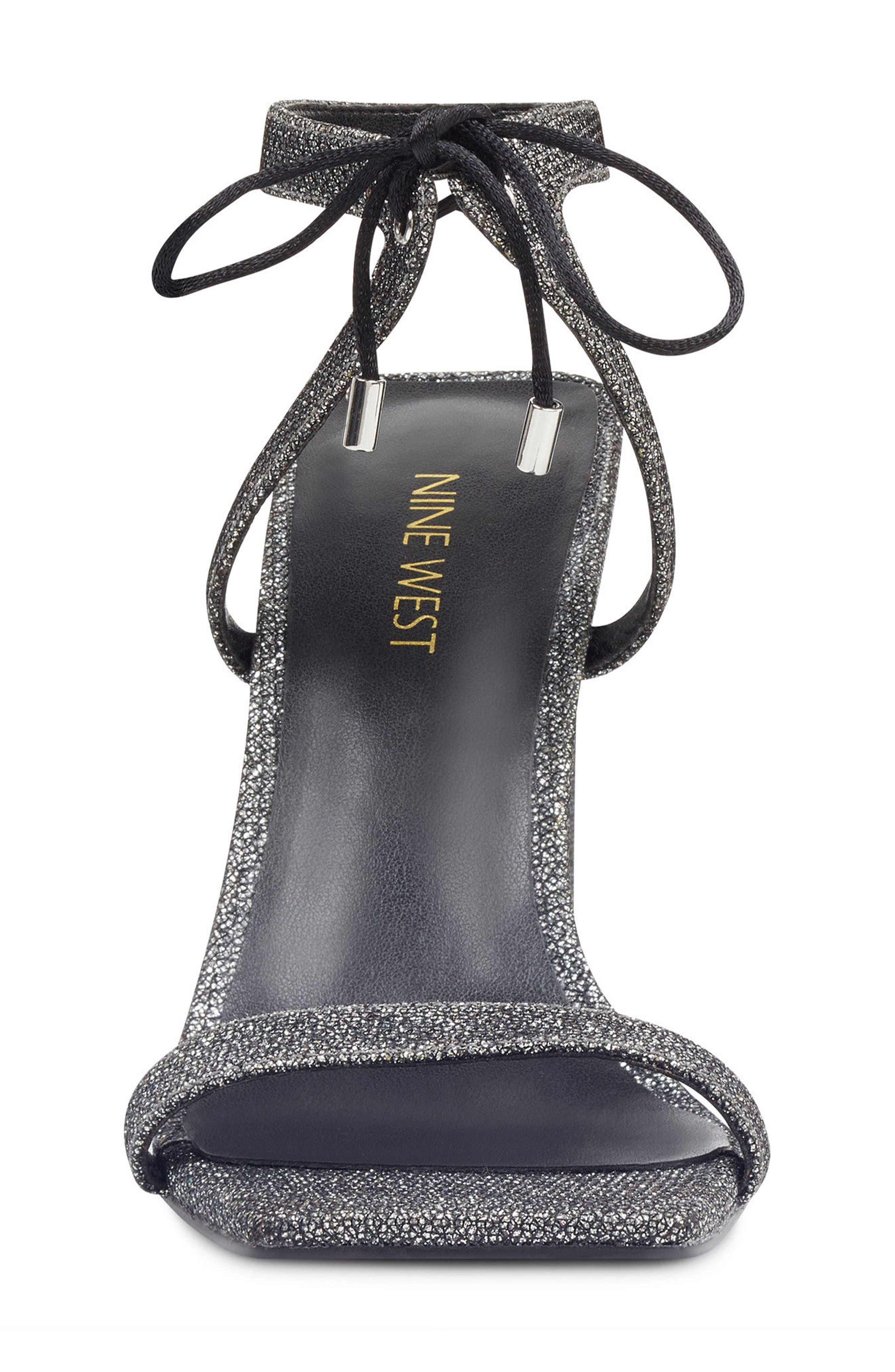 Longitano Squared Toe Sandal,                             Alternate thumbnail 4, color,                             Black/ Silver Fabric