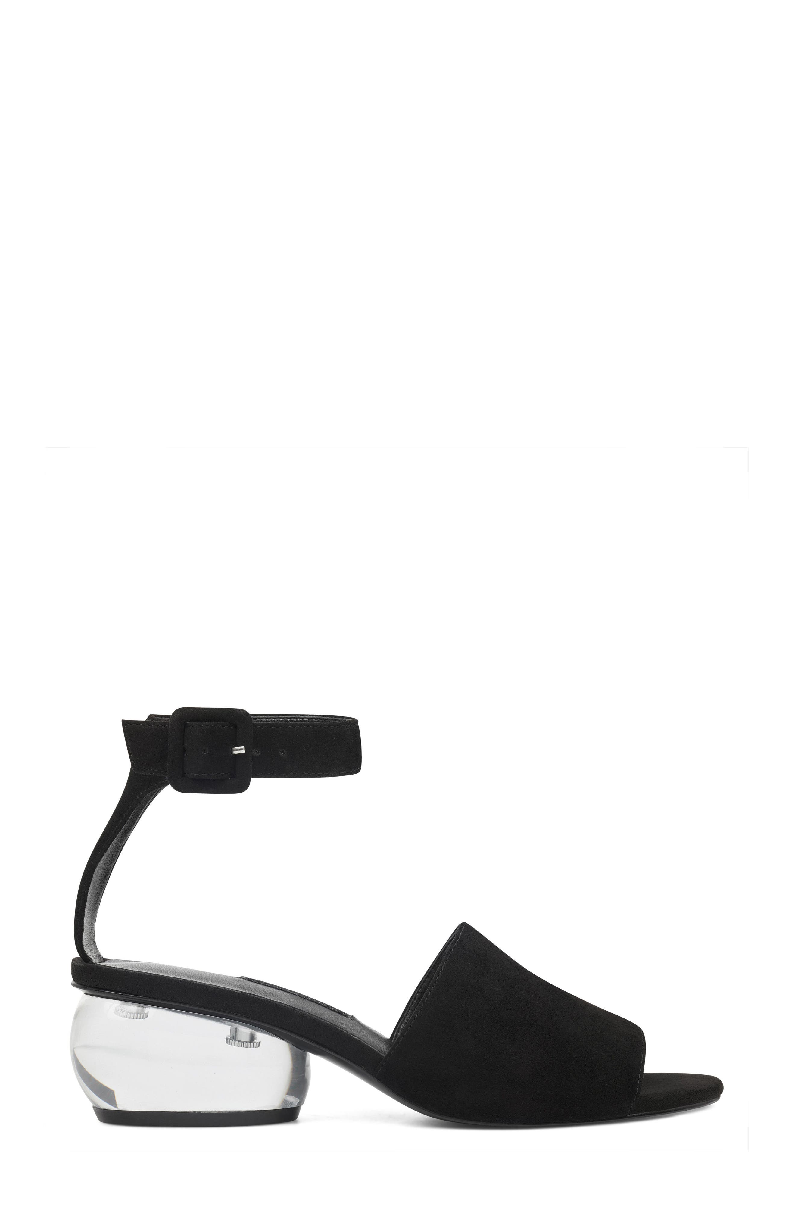 Enyo Clear Heel Sandal,                             Alternate thumbnail 3, color,                             Black Suede