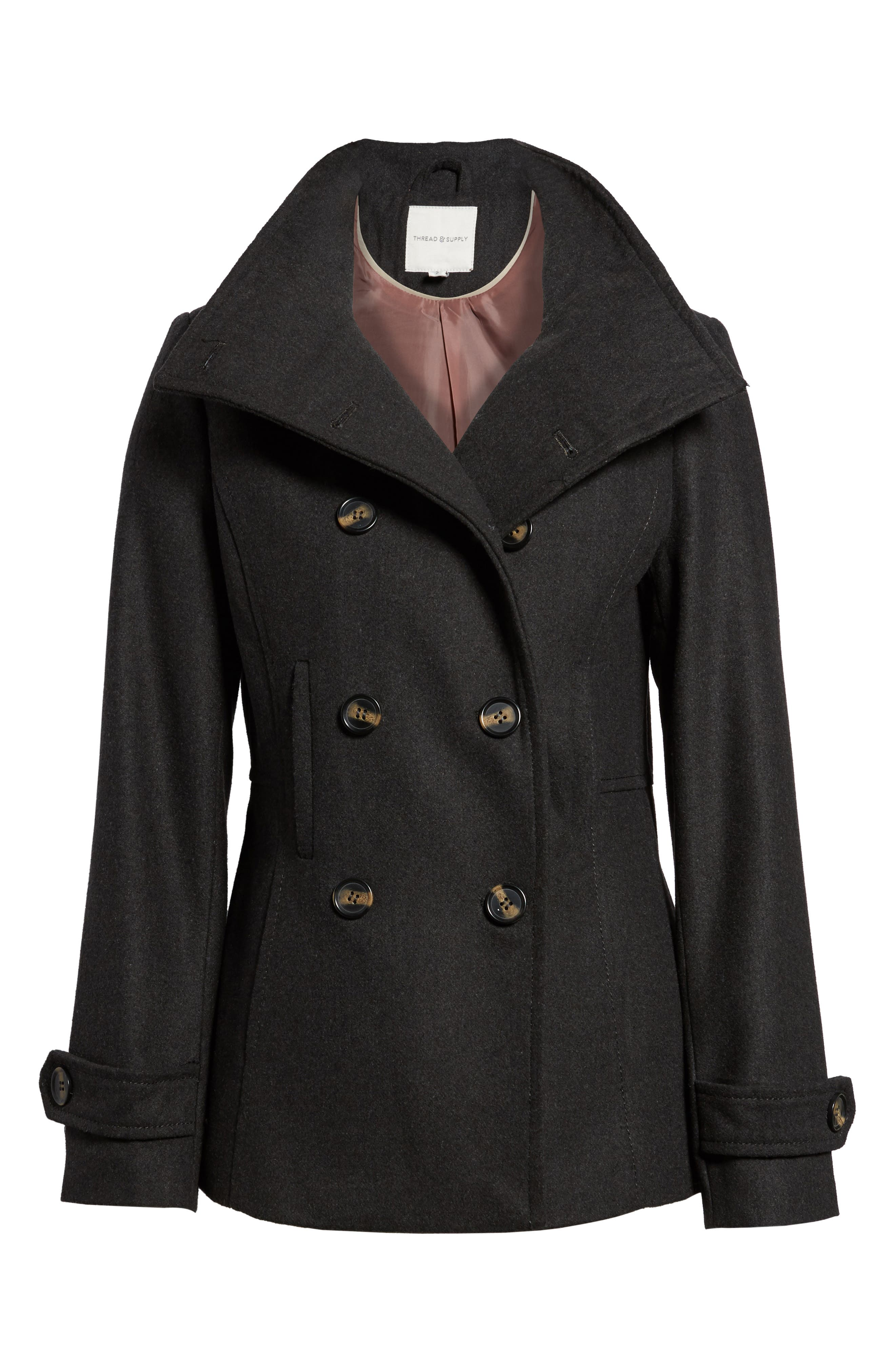 Double Breasted Peacoat,                         Main,                         color, Charcoal