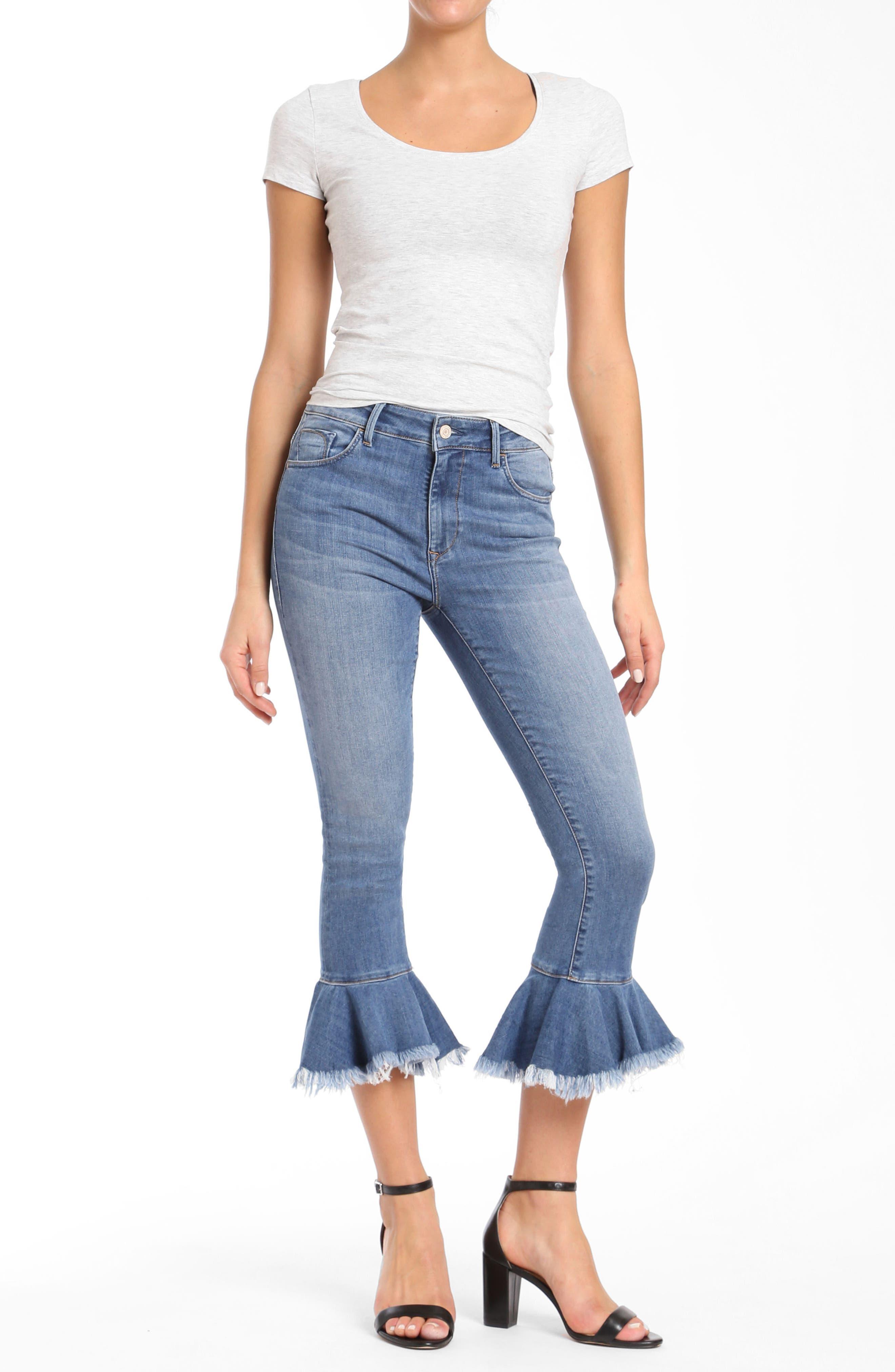 Mavi Tessa Super Skinny Flounce Hem Jeans,                             Alternate thumbnail 4, color,                             Mid Brushed Cheeky