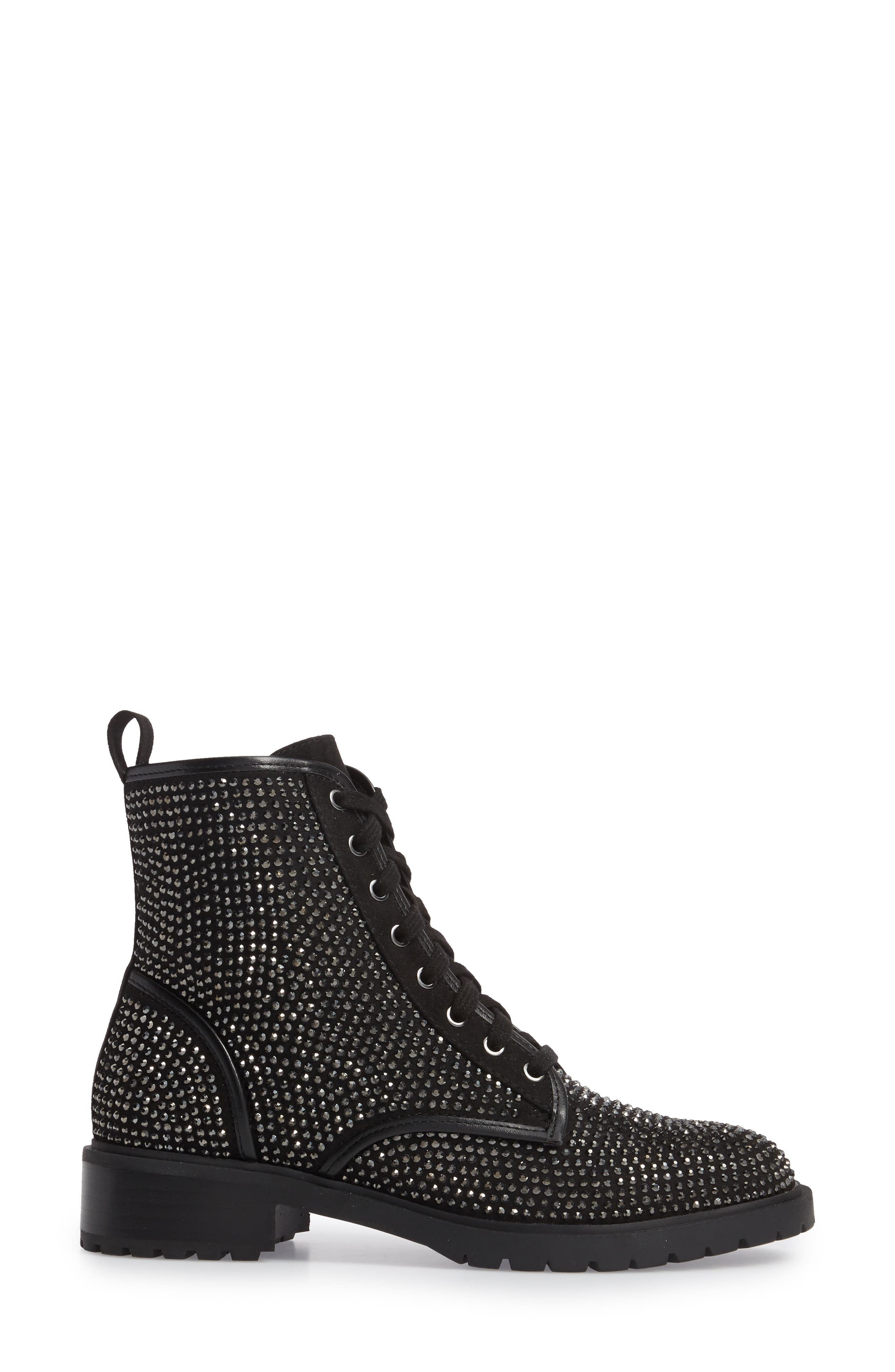 Ozzy Embellished Boot,                             Alternate thumbnail 3, color,                             Black Multi Suede
