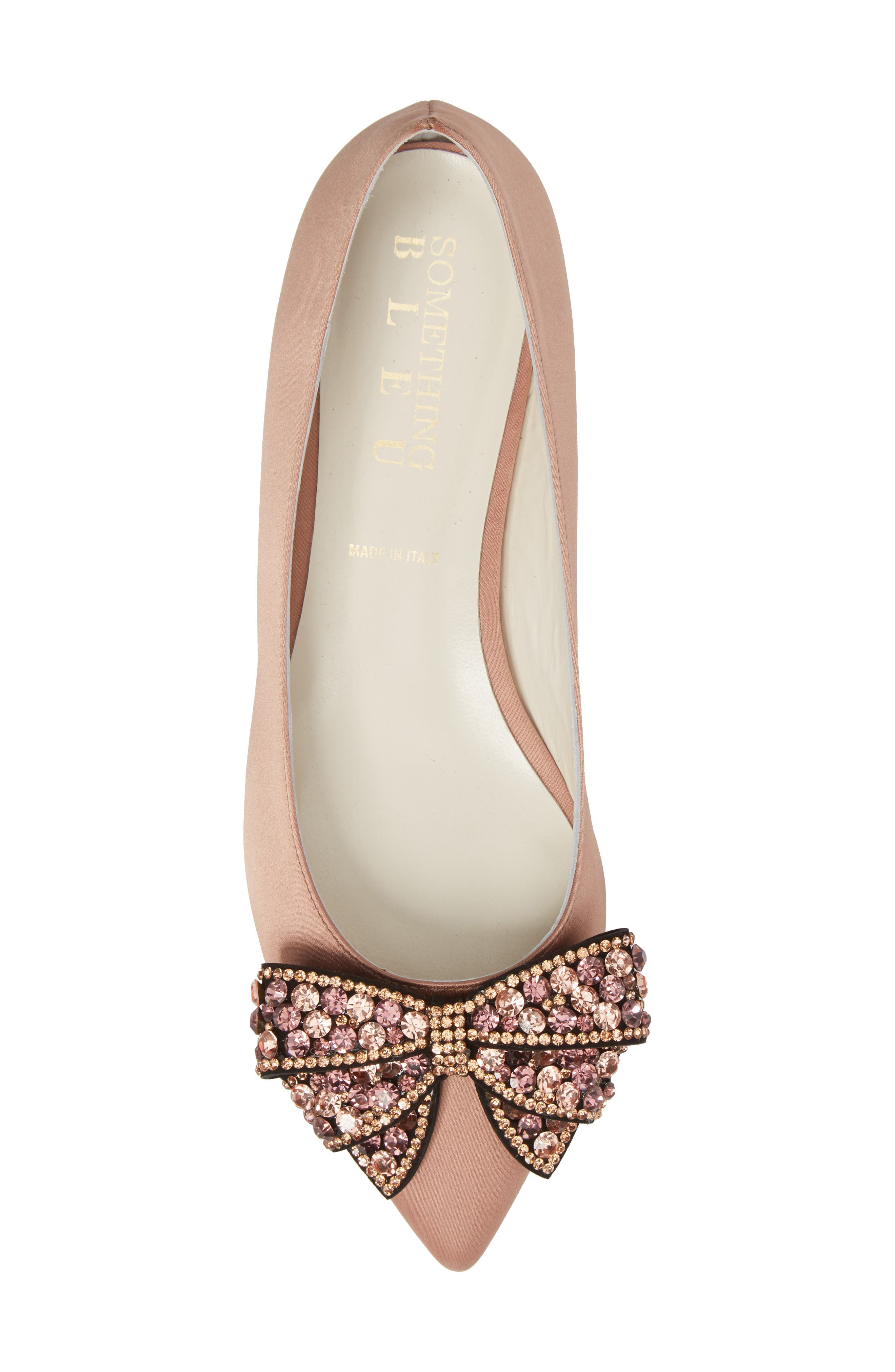 Milva Embellished Bow Pointy Toe Flat,                             Alternate thumbnail 5, color,                             Blush Satin
