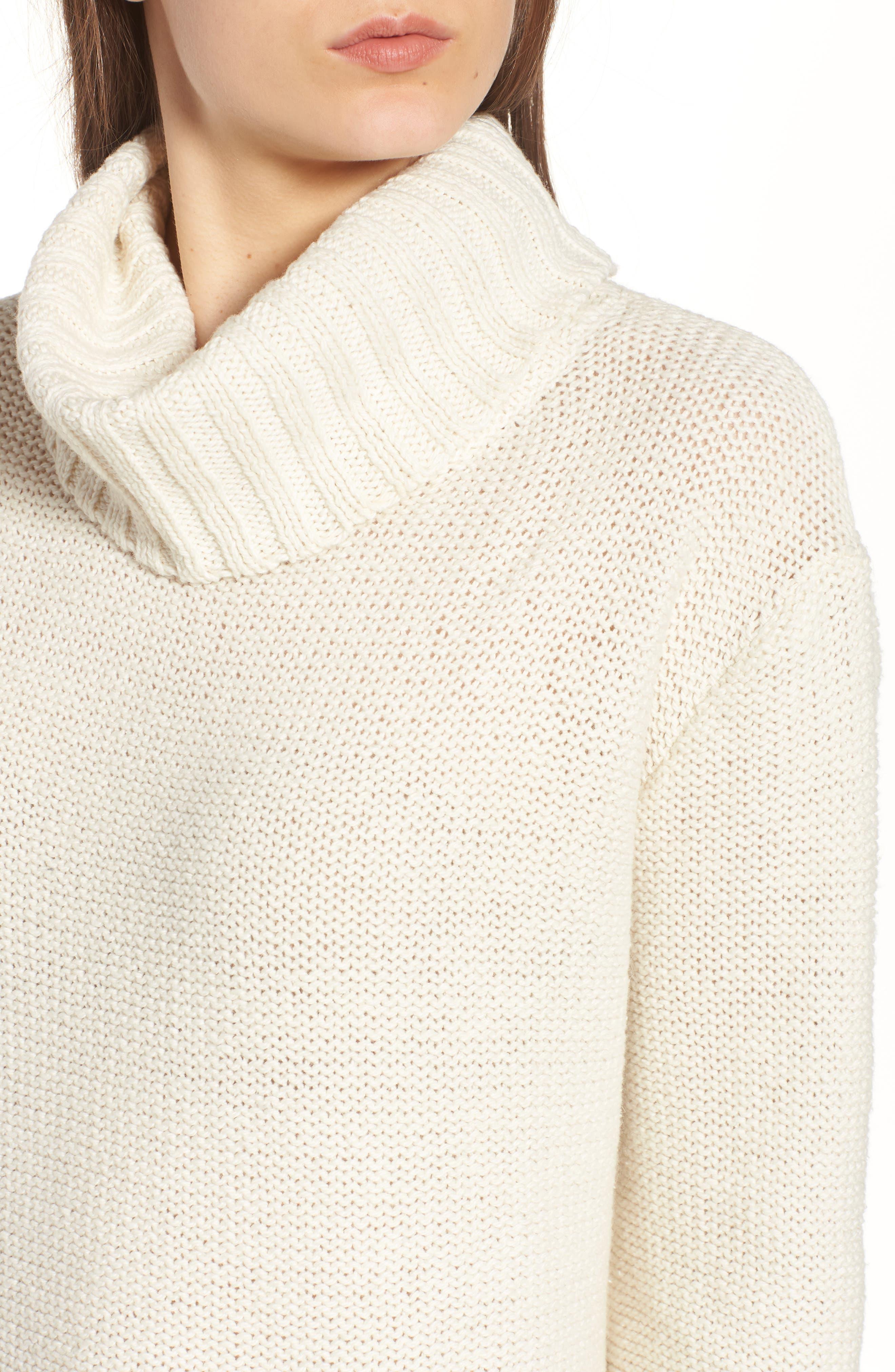 Flecked Turtleneck Sweater,                             Alternate thumbnail 4, color,                             Antique Cream