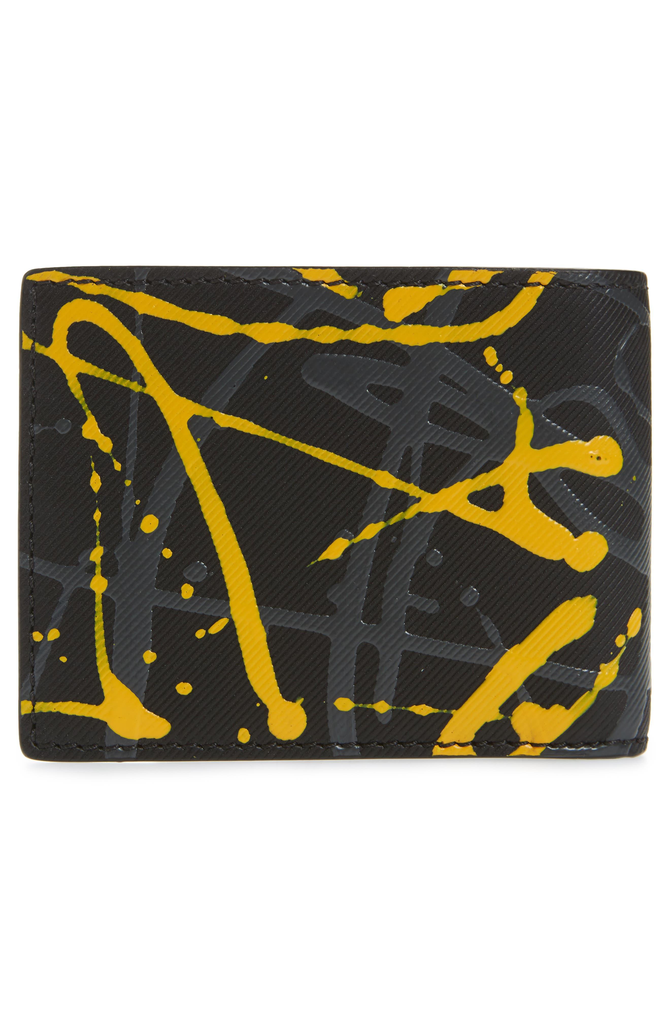 Trench Splash Leather Wallet,                             Alternate thumbnail 2, color,                             Black/ Splash