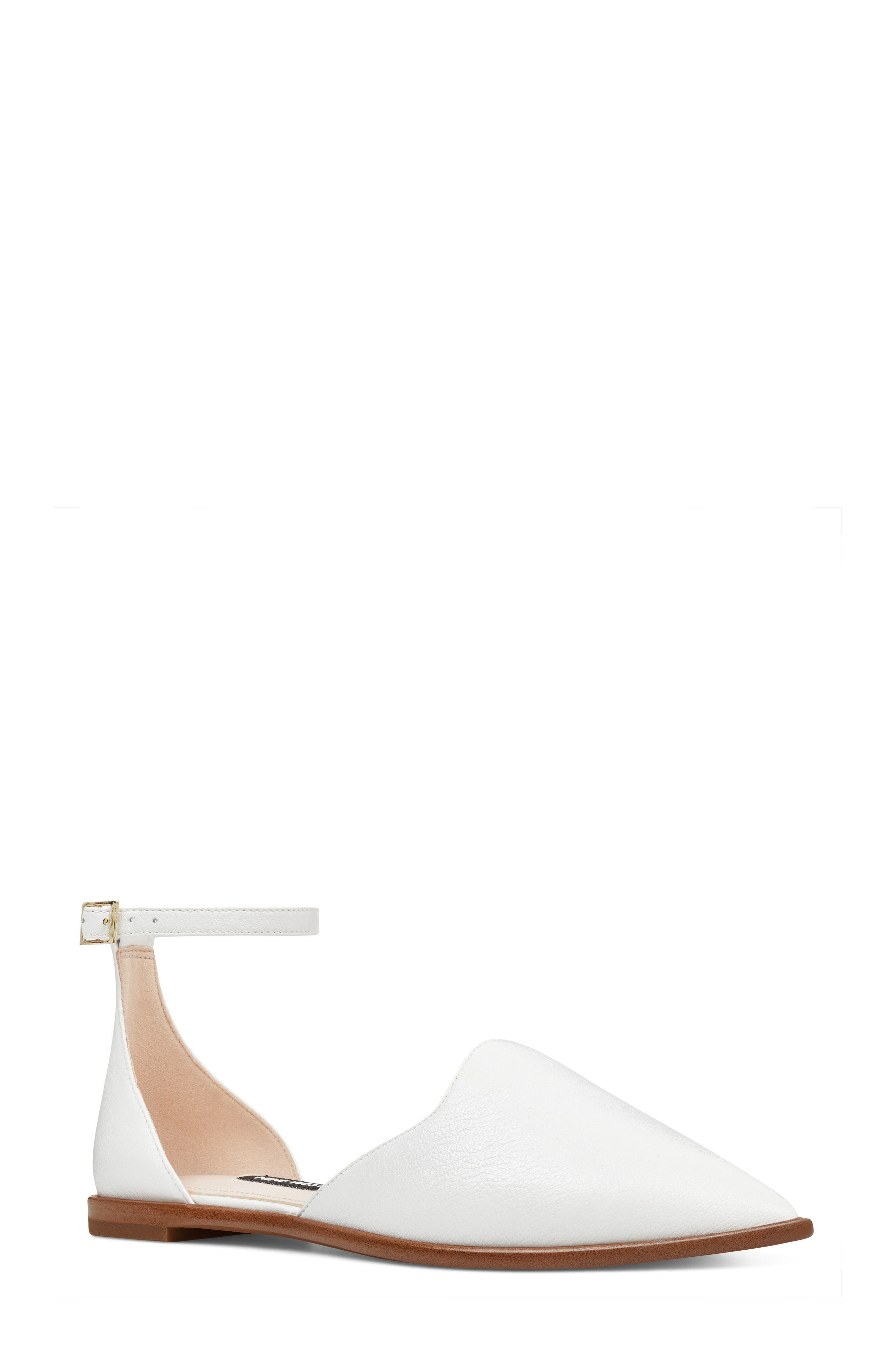 Oriona Ankle Strap Flat,                         Main,                         color, White Leather