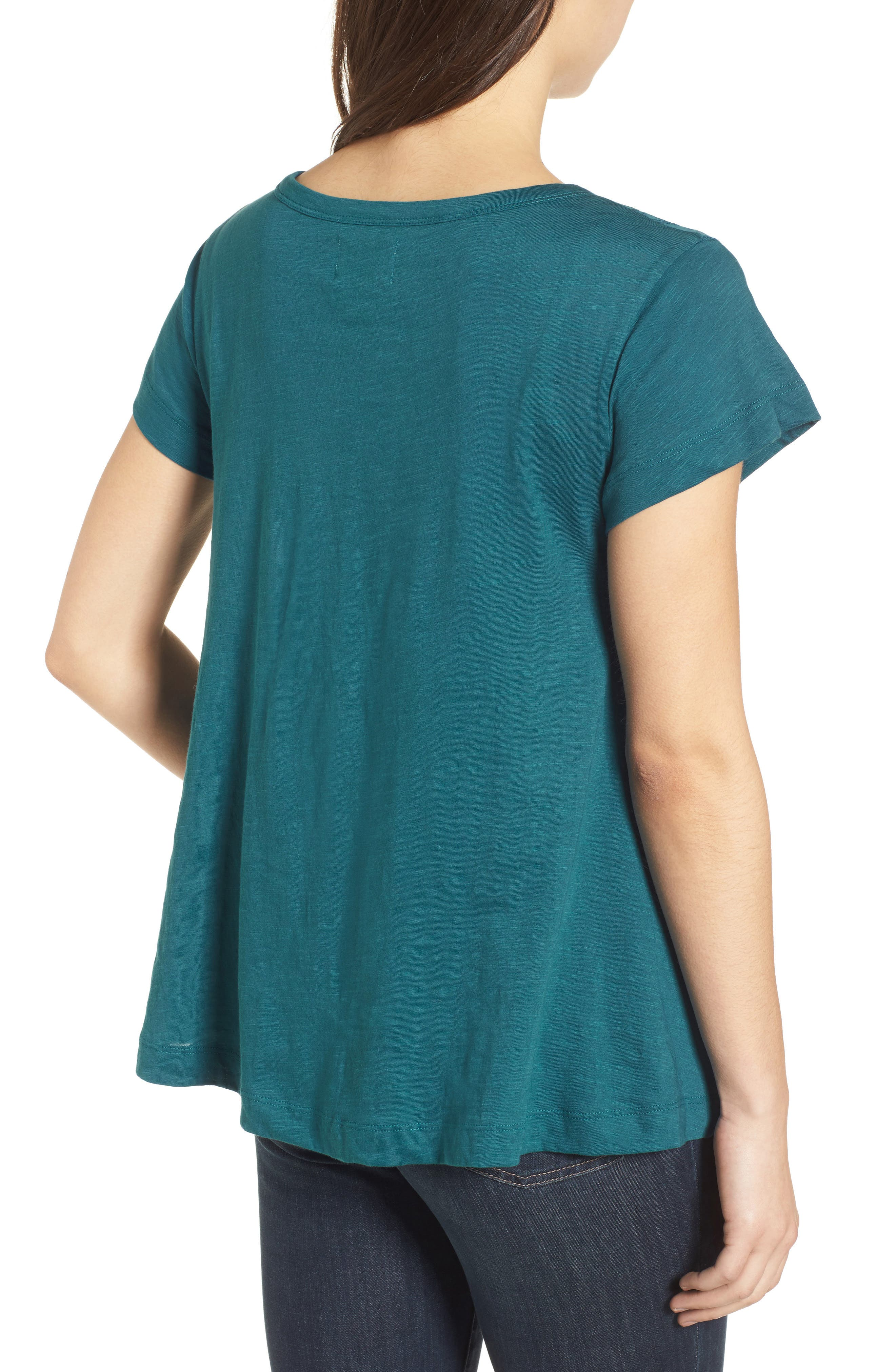 Embroidered Overlay Swing Top,                             Alternate thumbnail 2, color,                             Teal Seagate