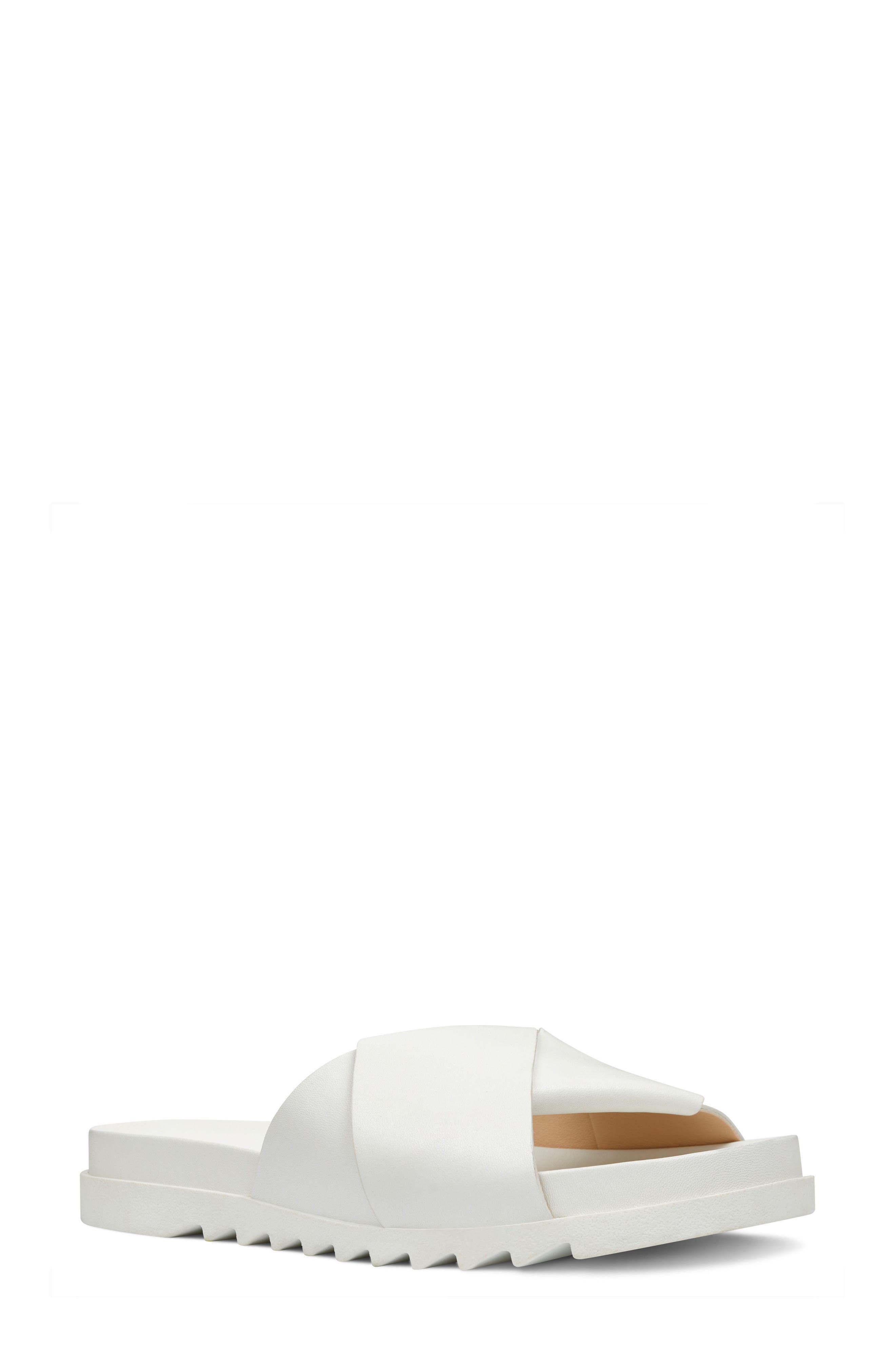 Furaish Slide Sandal,                         Main,                         color, White Leather