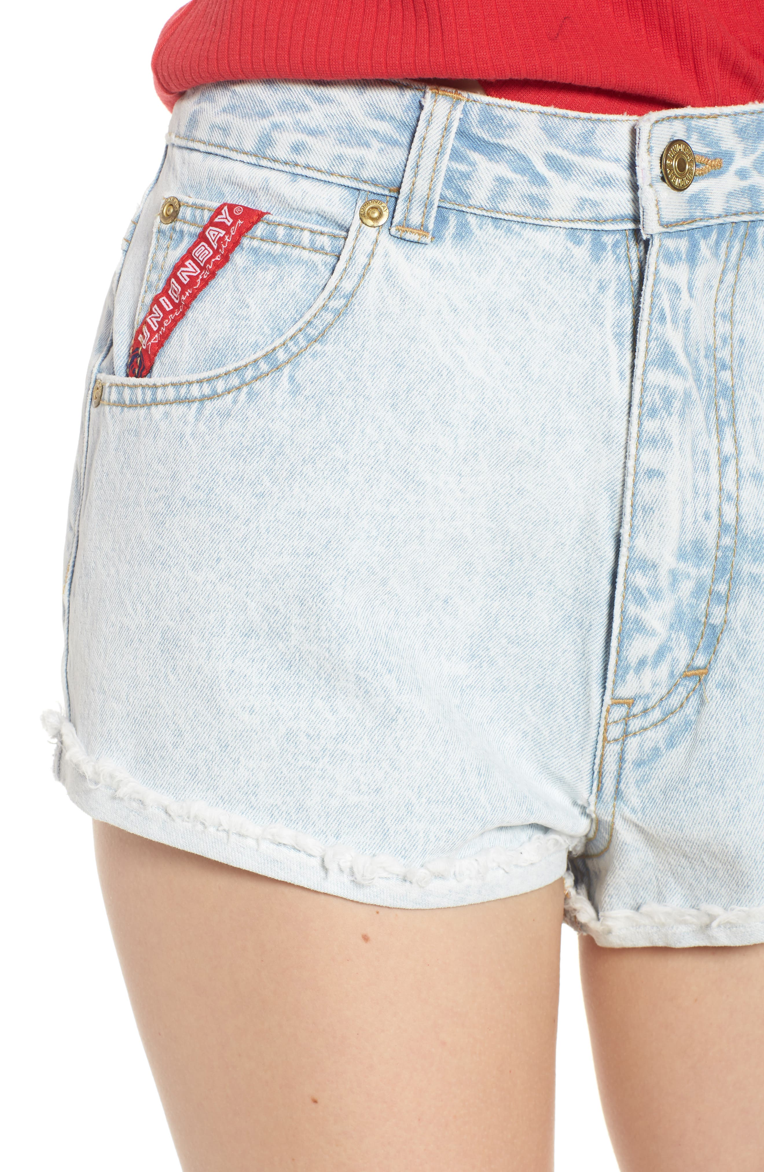 Unionbay Devo Acid Wash Denim Shorts,                             Alternate thumbnail 4, color,                             Icy Wash