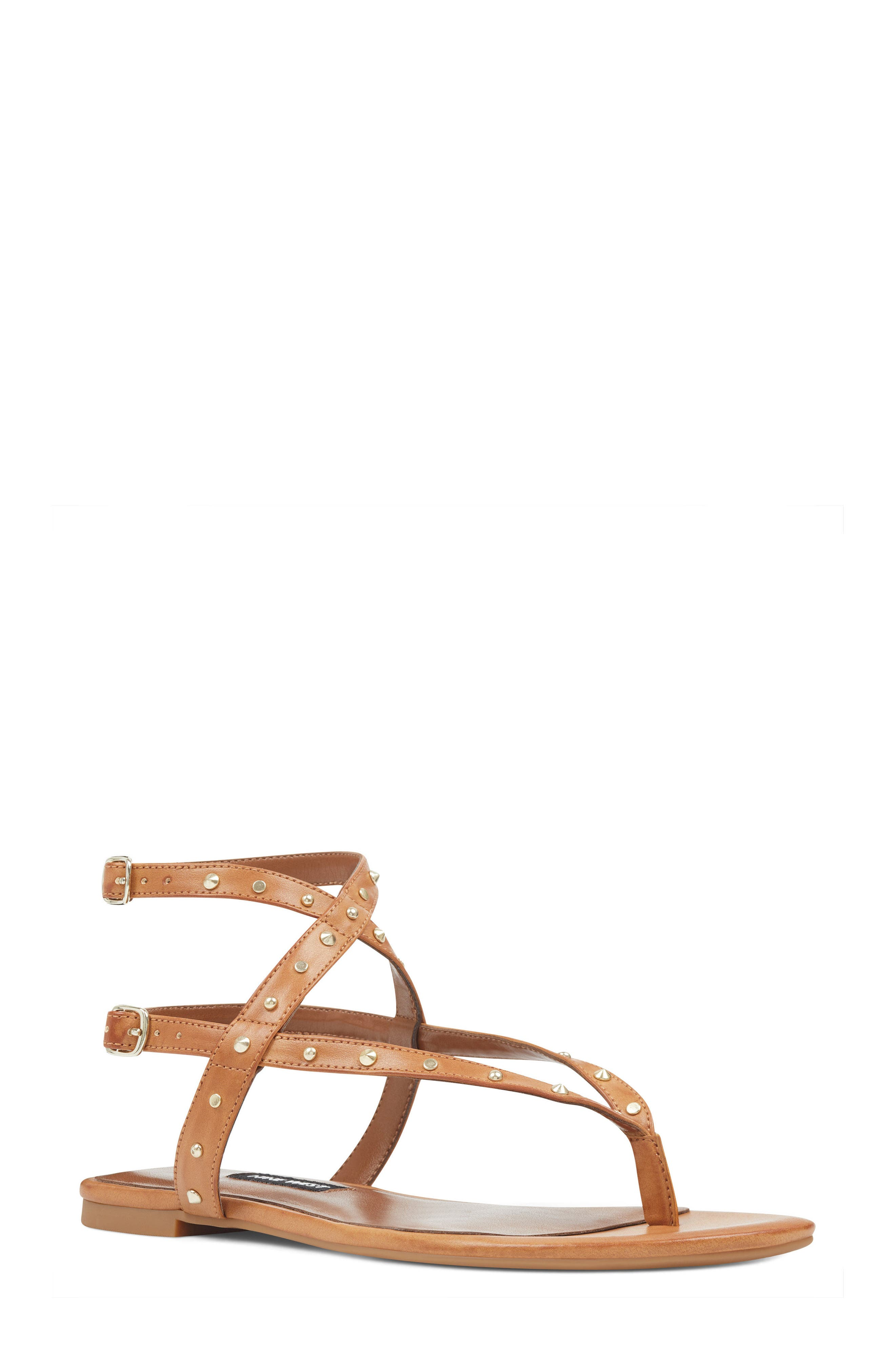 Simcha Studded Wraparound Sandal,                         Main,                         color, Dark Natural Faux Leather