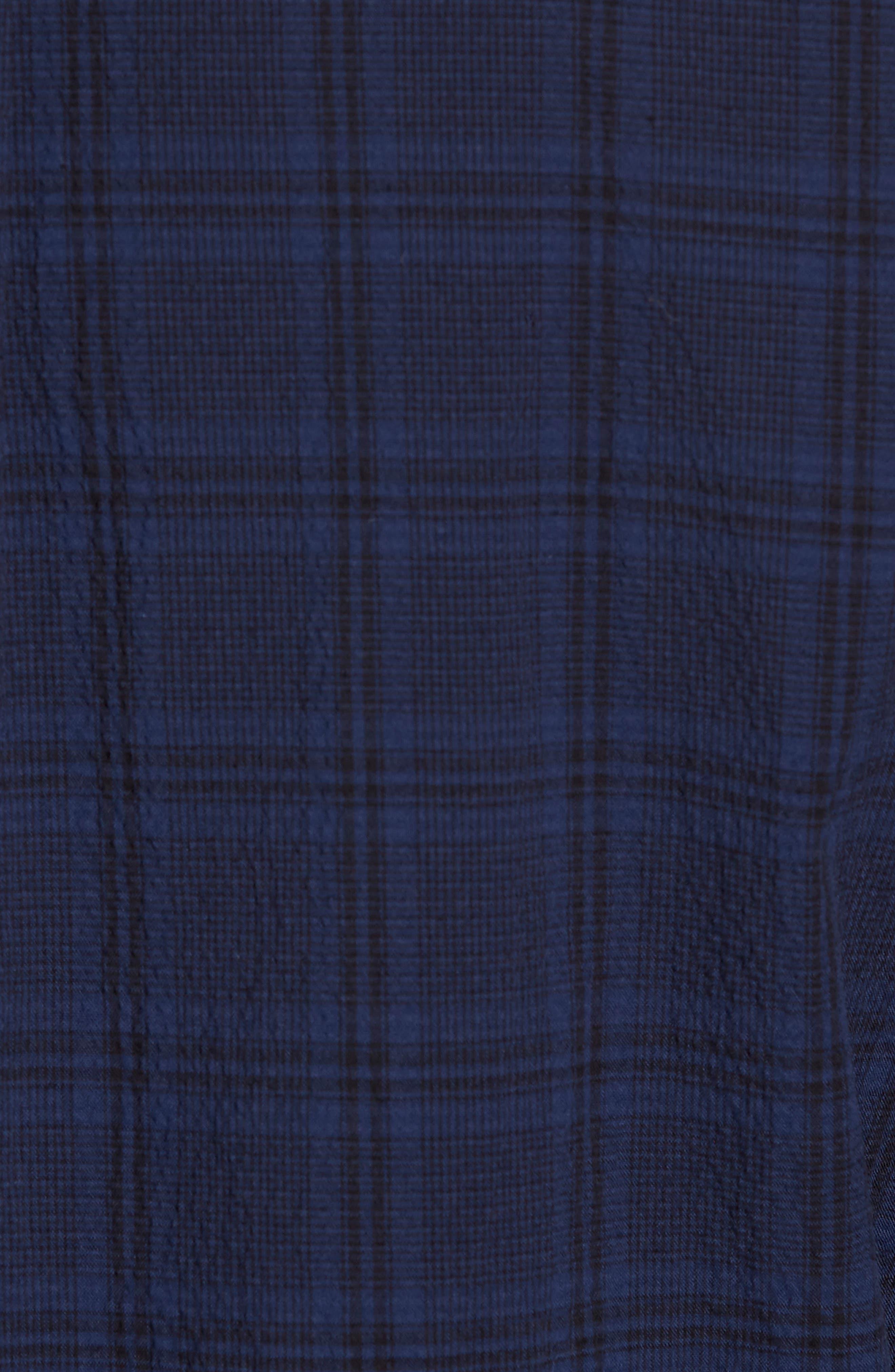 Slim Fit Plaid Stretch Sport Shirt,                             Alternate thumbnail 5, color,                             Navy Seersucker Plaid