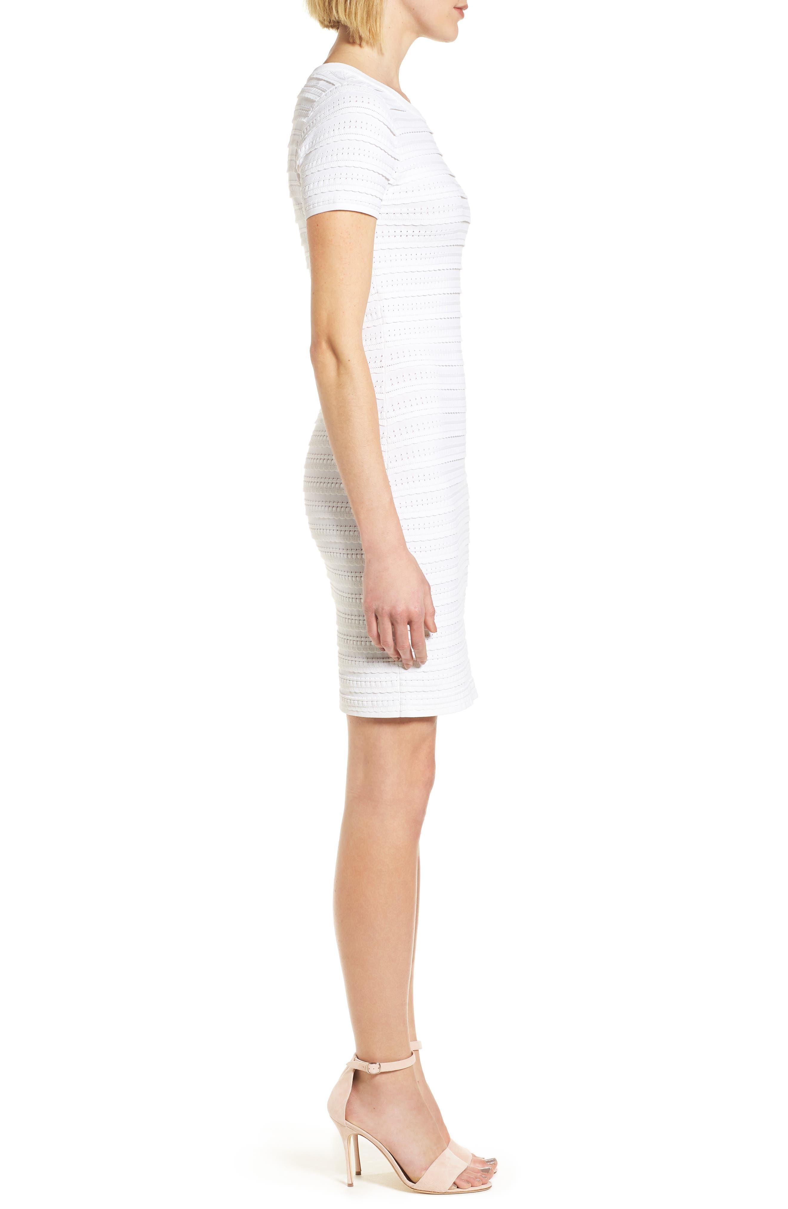 Tiered Sheath Dress,                             Alternate thumbnail 3, color,                             White