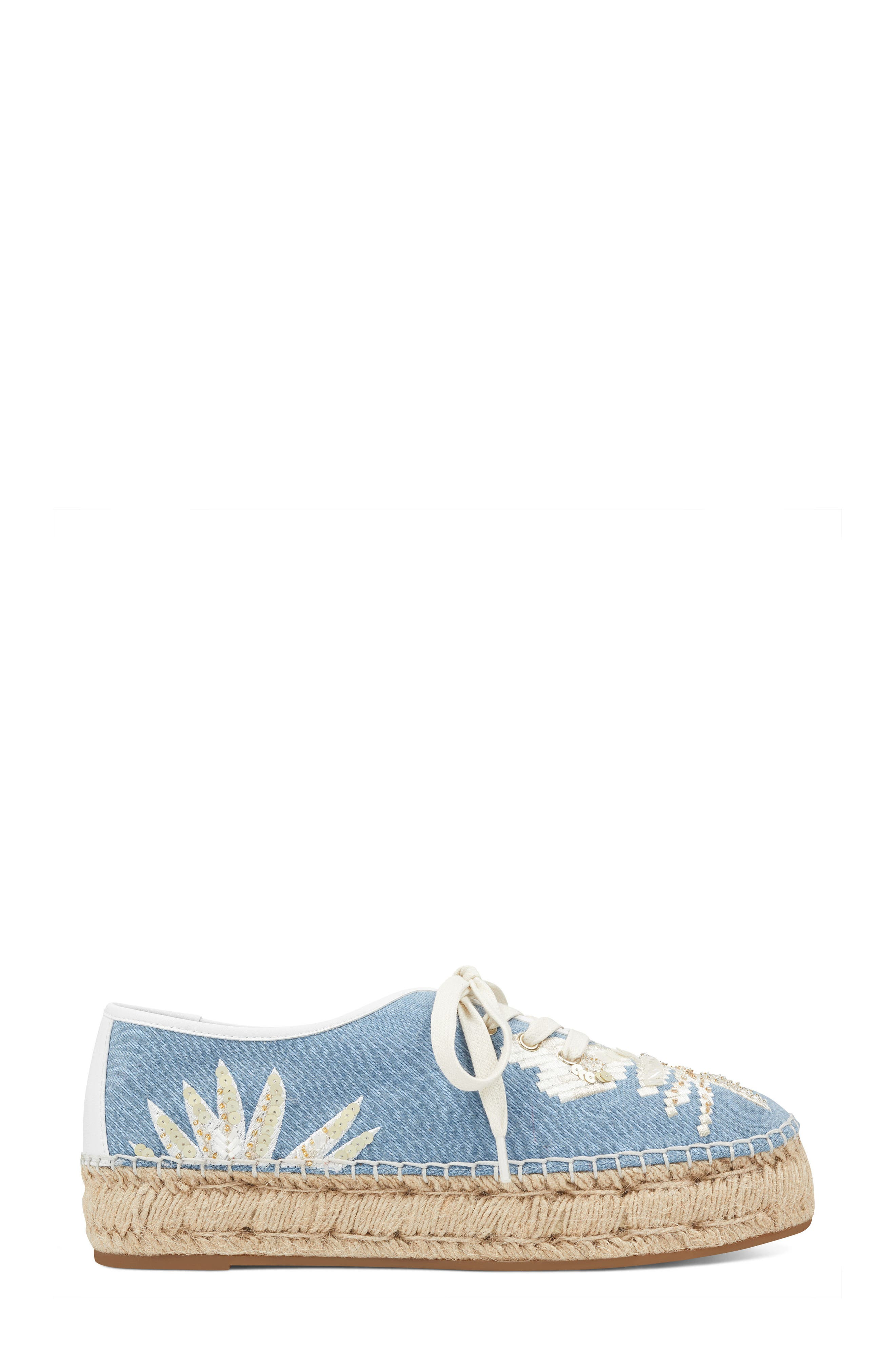 Guinup Embellished Espadrille Sneaker,                             Alternate thumbnail 3, color,                             Light Blue/ White Denim