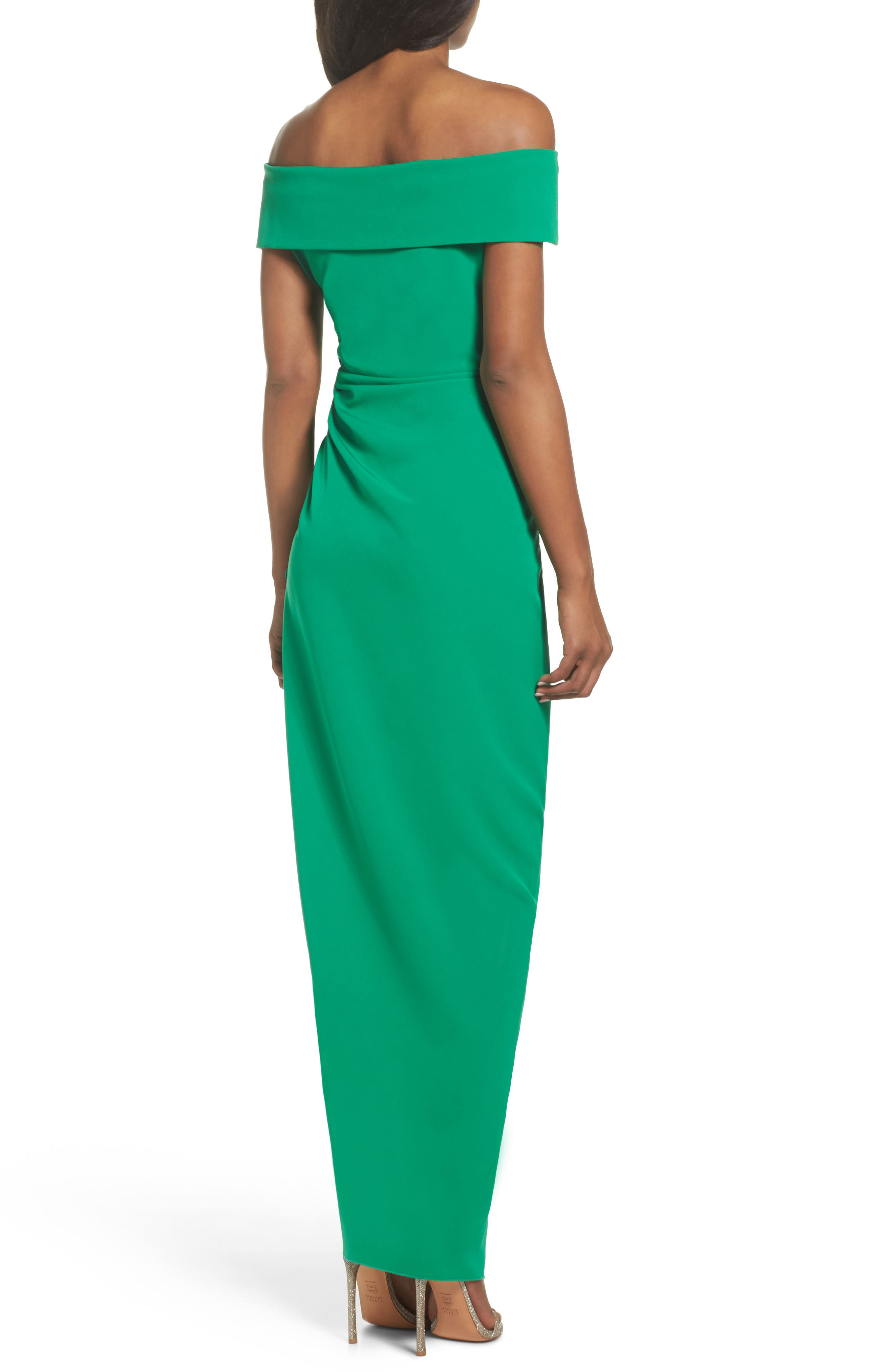 Off the Shoulder Crepe Gown,                             Alternate thumbnail 2, color,                             Green