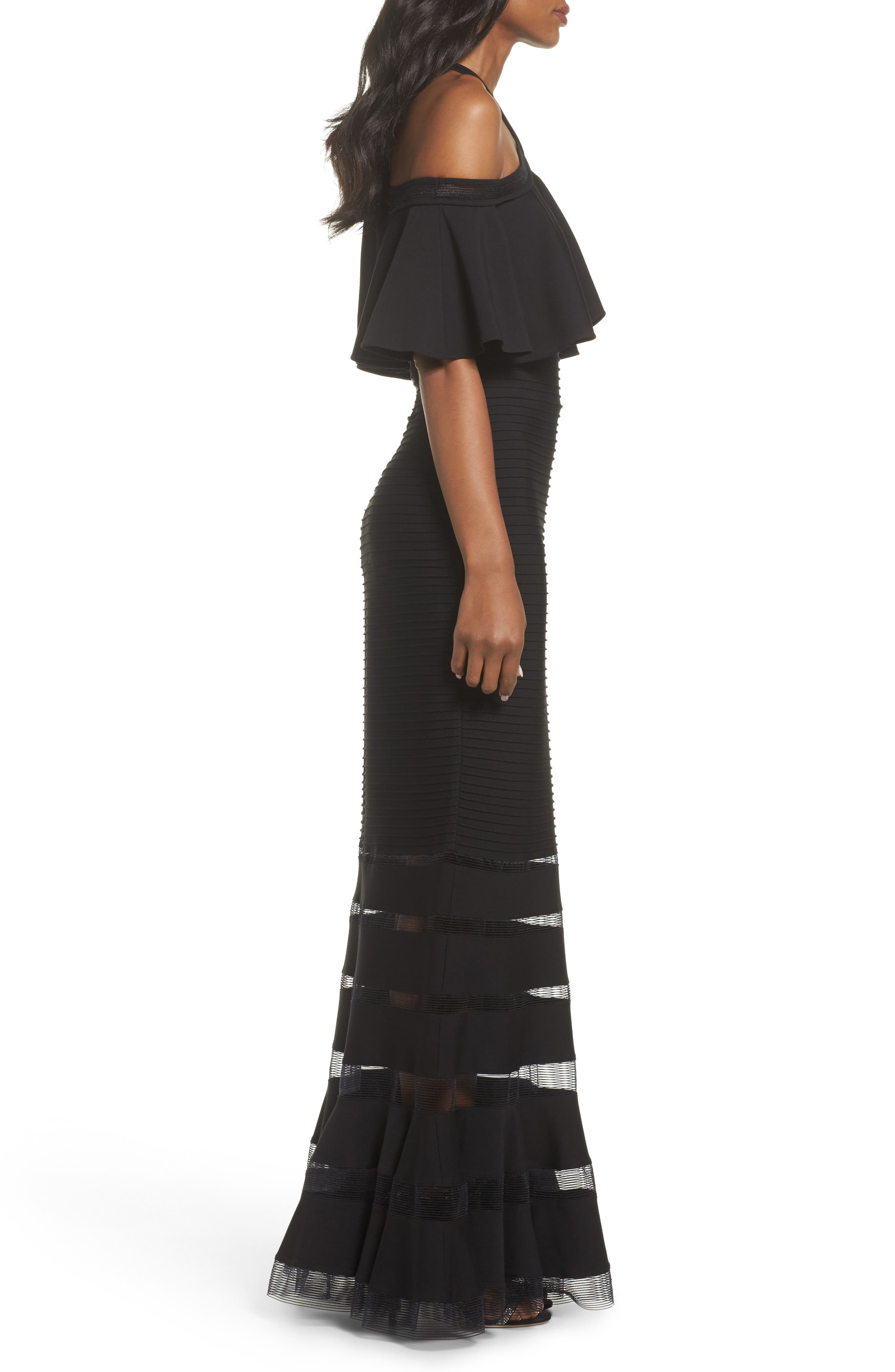Jersey Cold-Shoulder Gown,                             Alternate thumbnail 3, color,                             Black