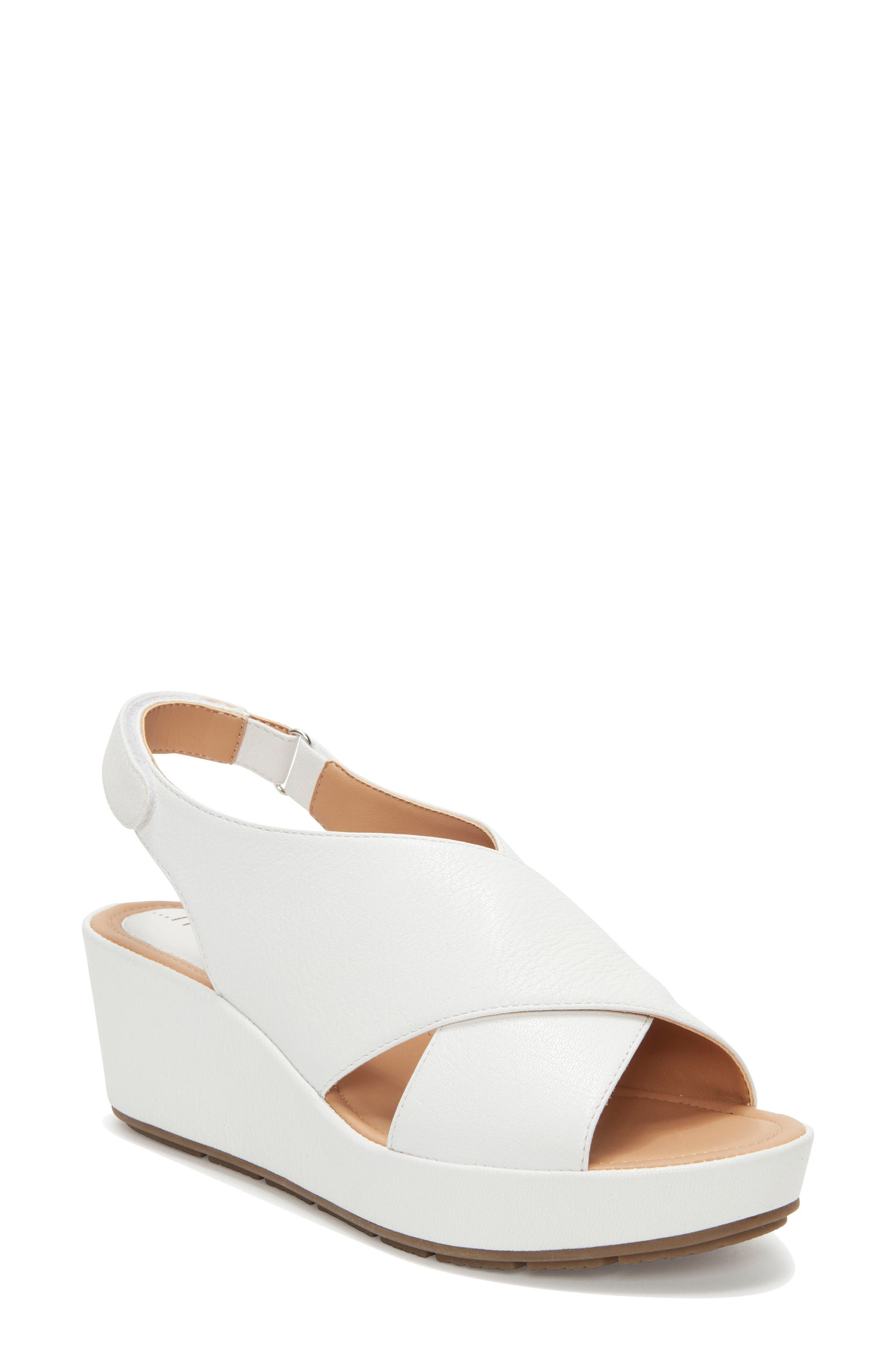 Arena Wedge Sandal,                         Main,                         color, White Leather