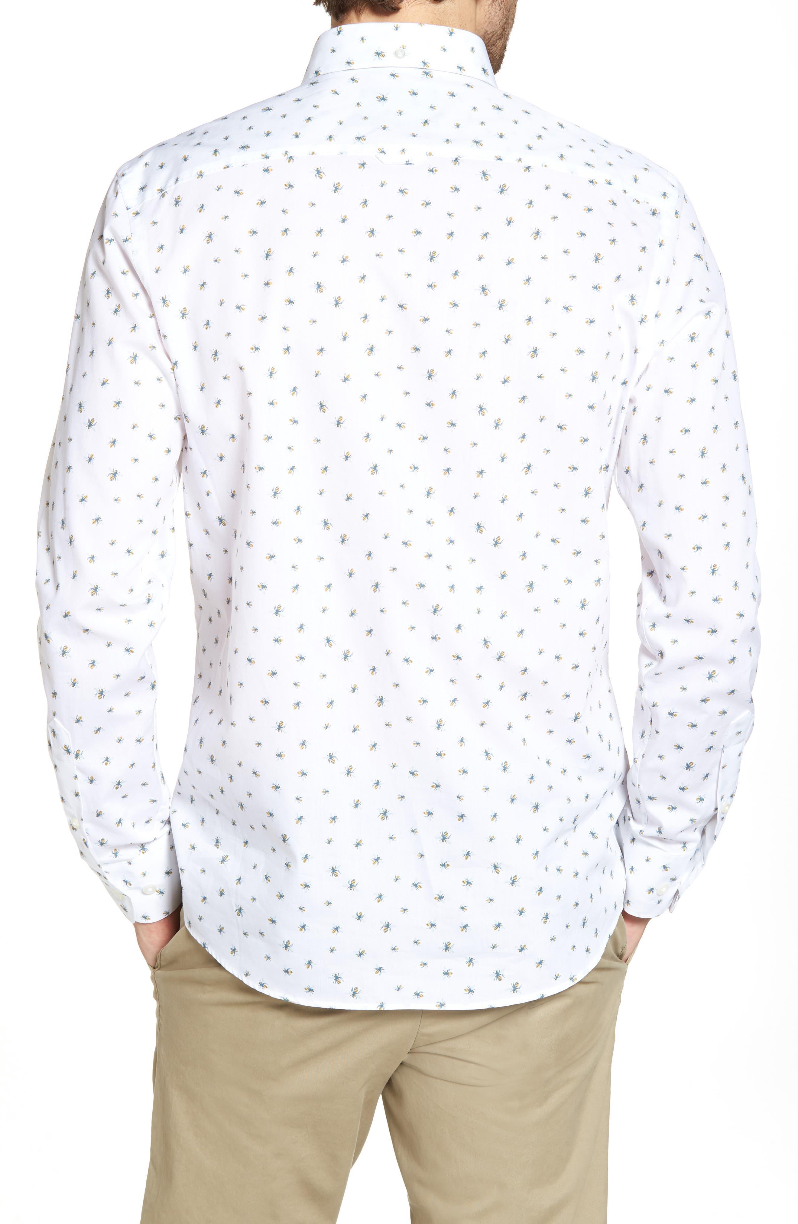 Trim Fit Bee Print Sport Shirt,                             Alternate thumbnail 3, color,                             White Bumble Bees