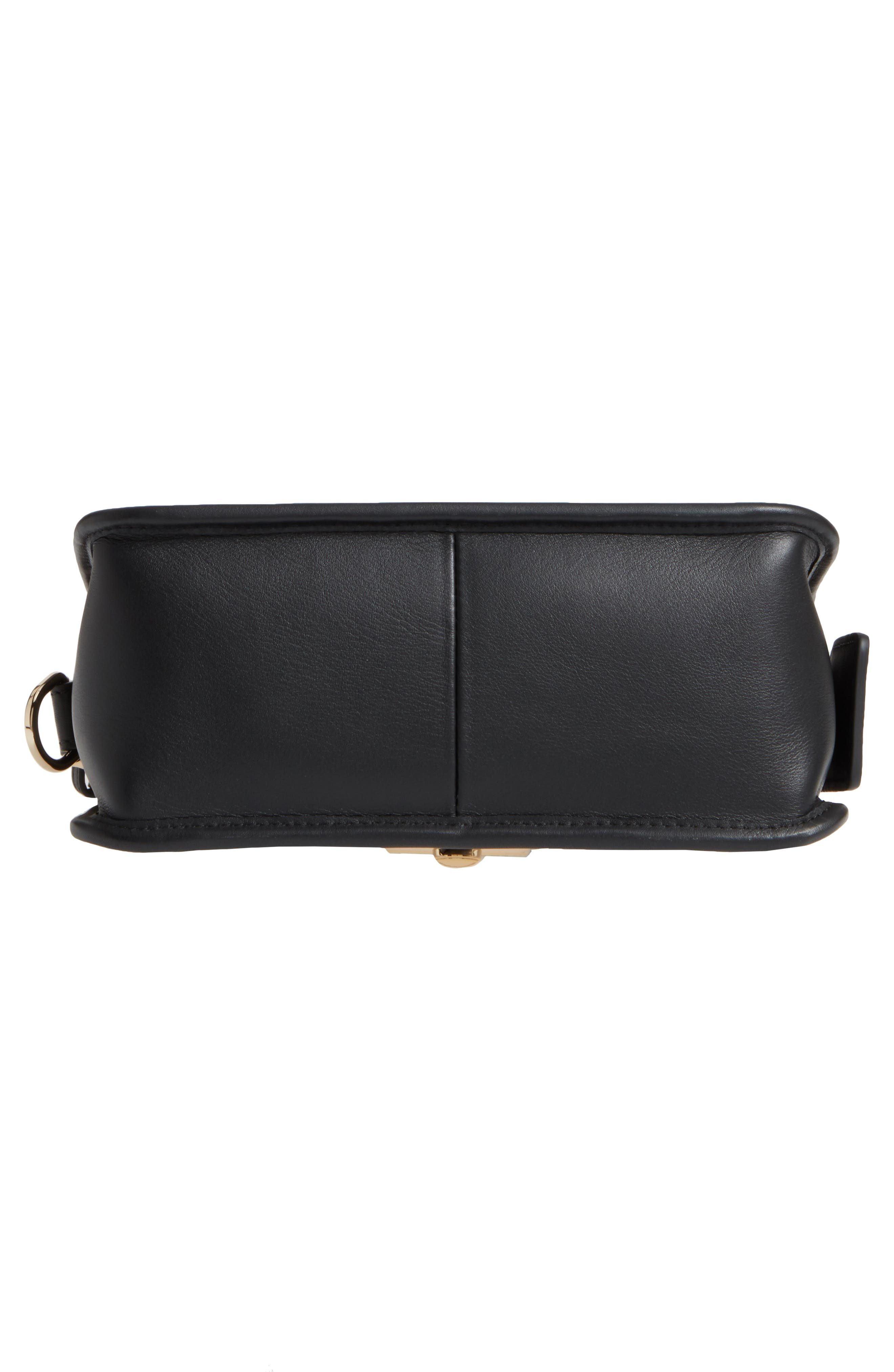Small Mademoiselle Calfskin Leather Crossbody Bag,                             Alternate thumbnail 6, color,                             Black