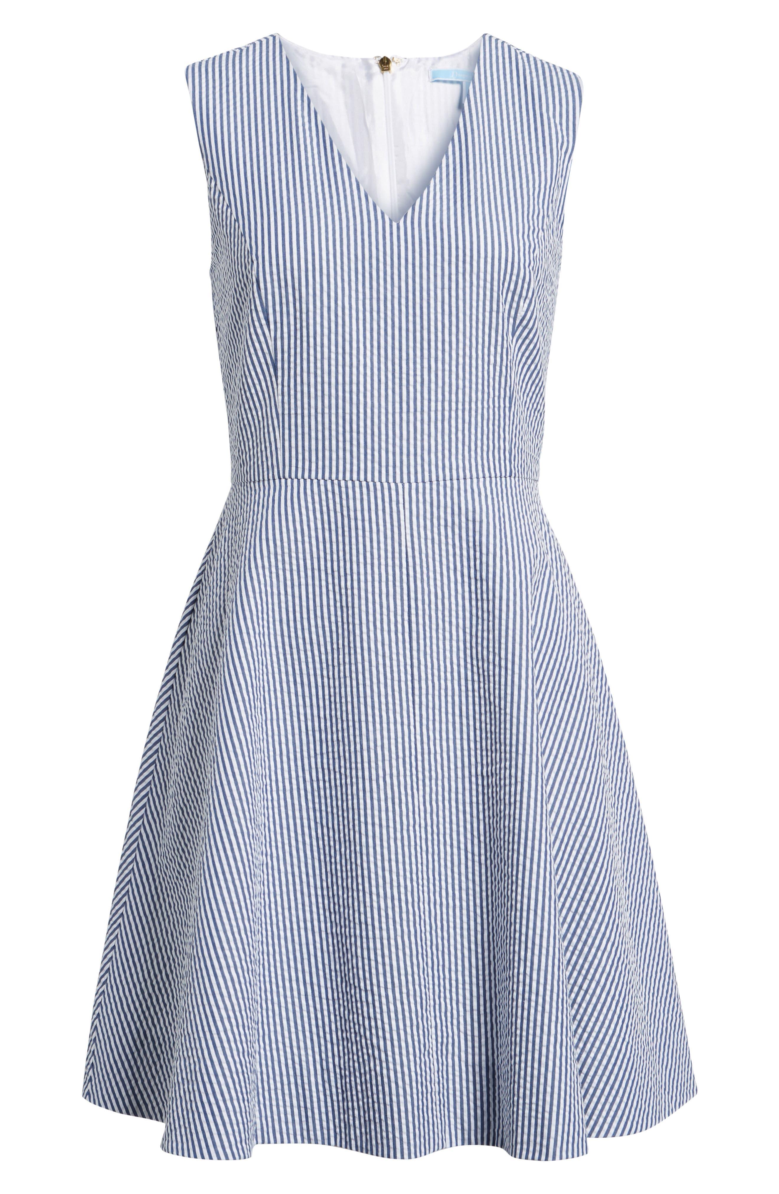 Love Circle Seersucker Stretch Cotton Dress,                             Alternate thumbnail 6, color,                             Navy