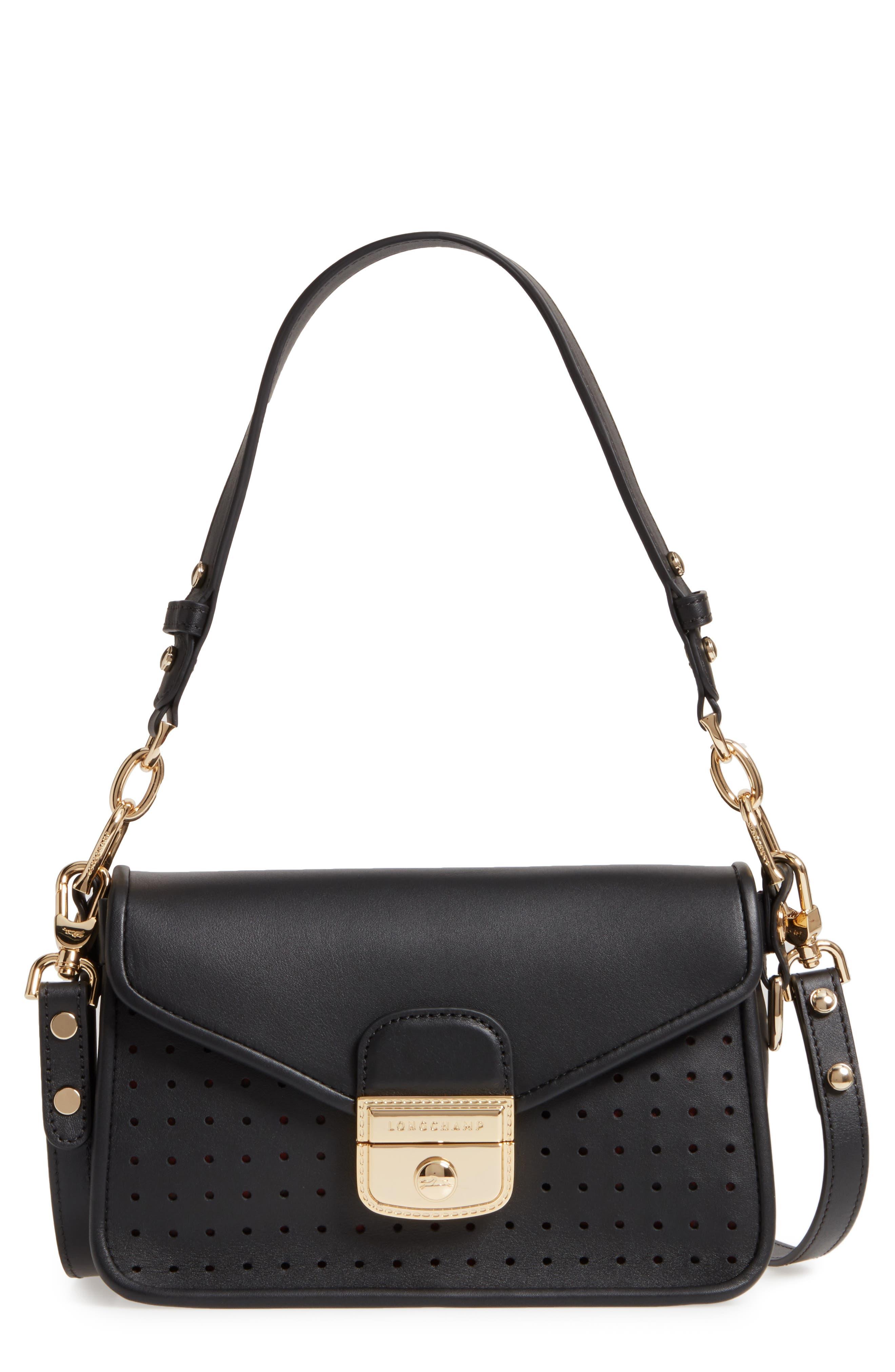 Small Mademoiselle Calfskin Leather Crossbody Bag,                             Main thumbnail 1, color,                             Black