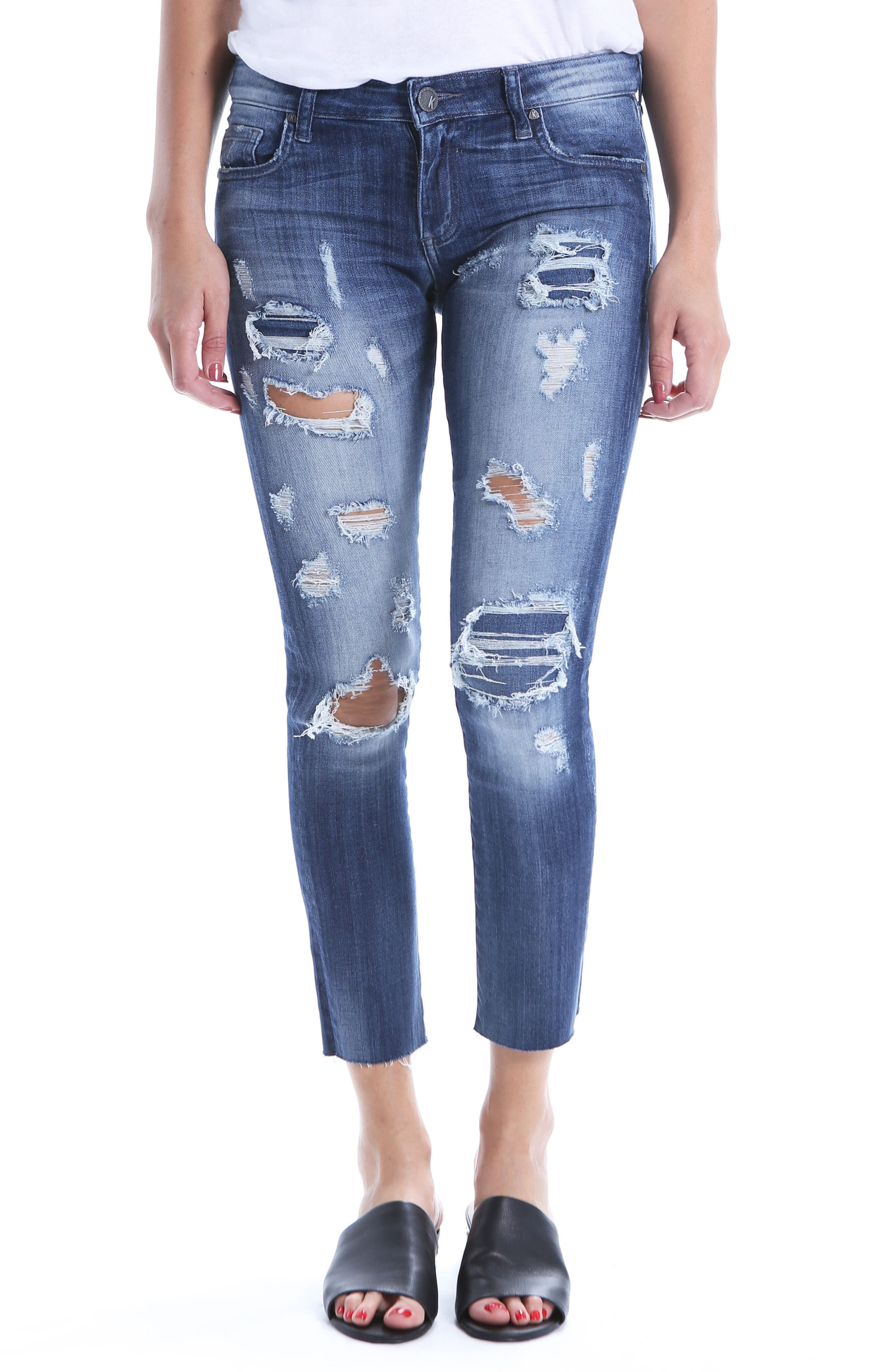 Reese Distressed Ripped Raw Hem Jeans,                             Main thumbnail 1, color,                             Protected