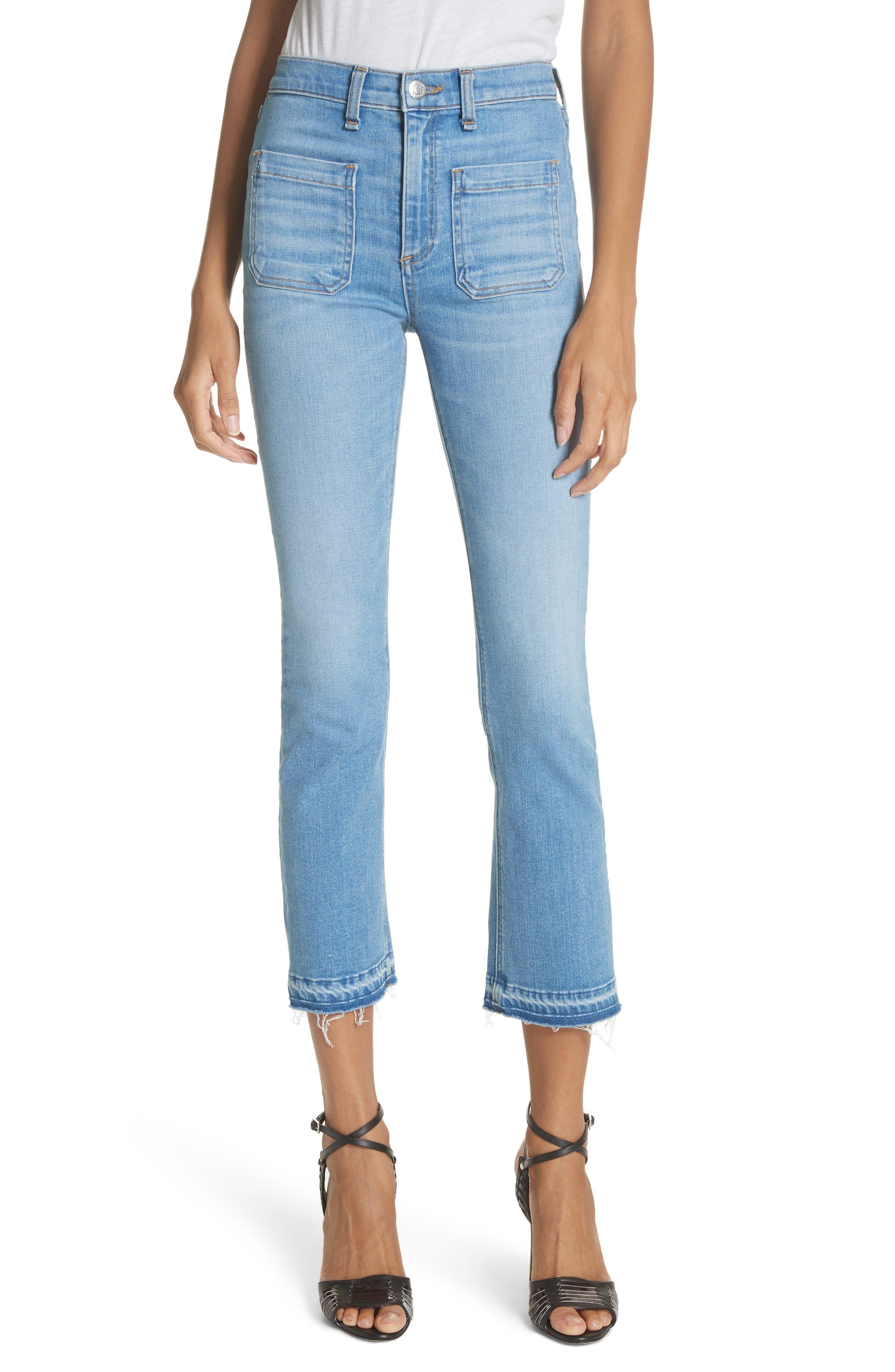 Carolyn Crop Baby Boot Jeans,                             Main thumbnail 1, color,                             Ocean Blue