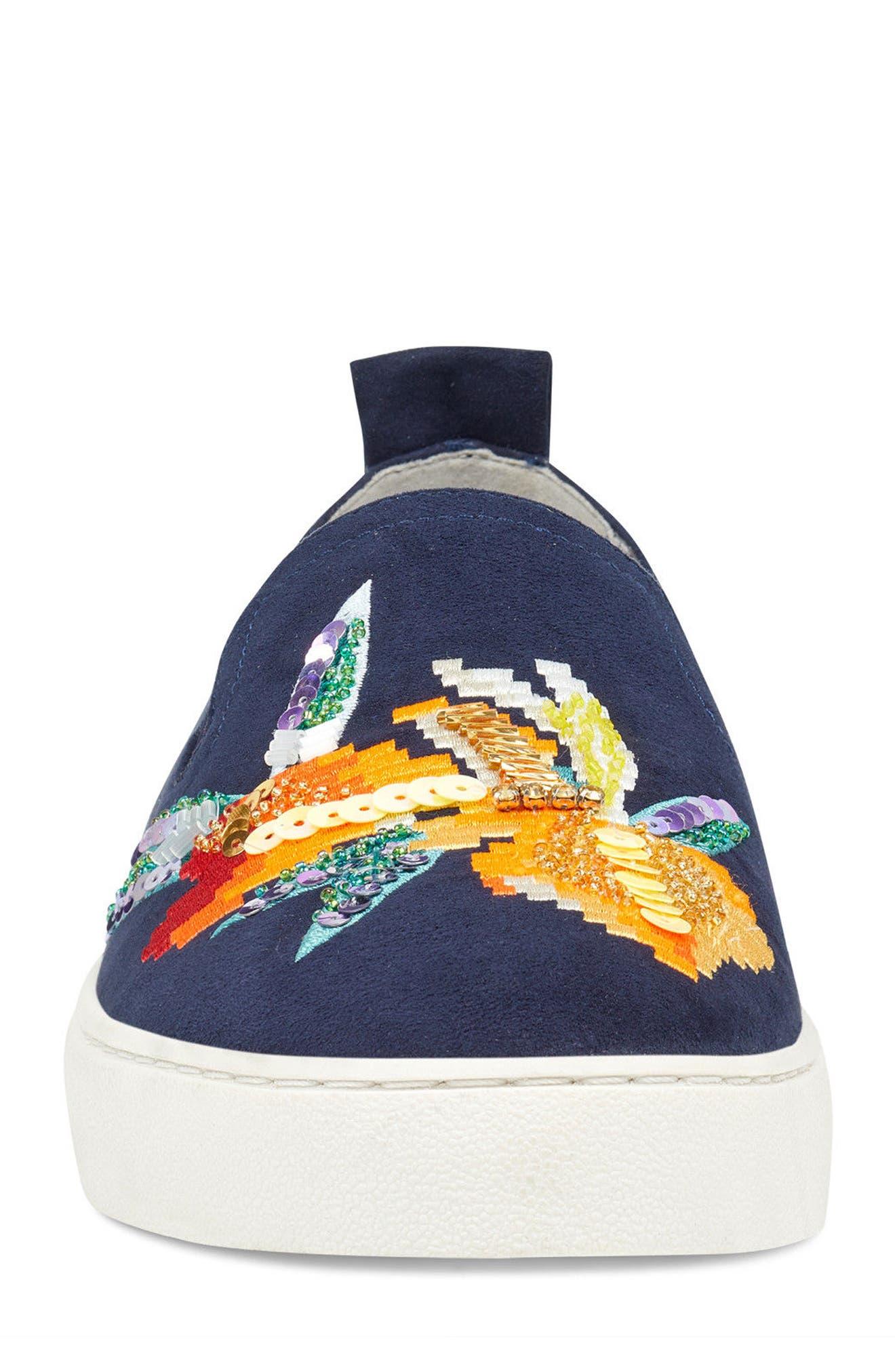 Playavista Slip-On Sneaker,                             Alternate thumbnail 4, color,                             Navy Suede