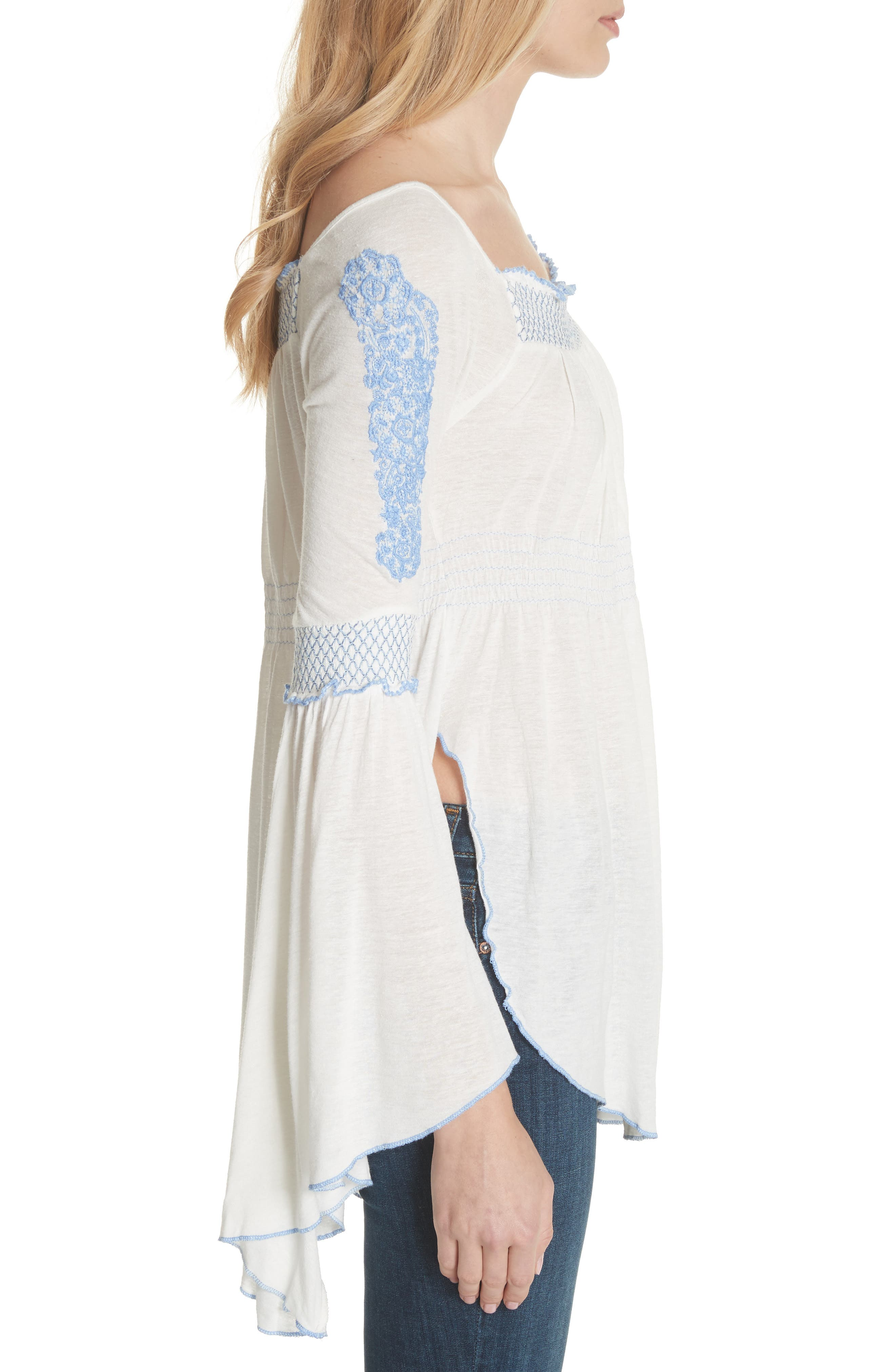 Valley Embroidered Bell Sleeve Top,                             Alternate thumbnail 3, color,                             Ivory