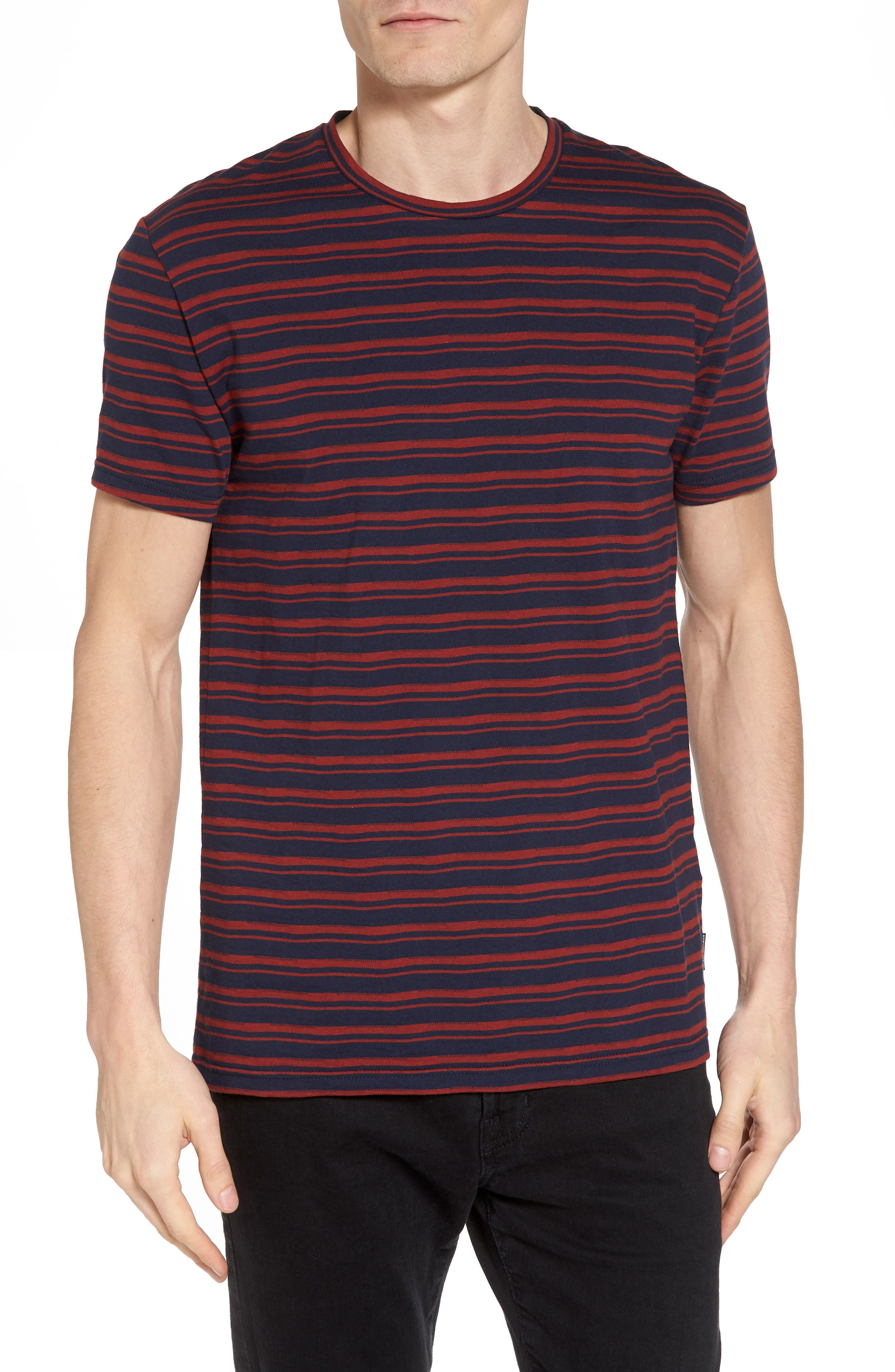 Distorted Stripe T-Shirt,                         Main,                         color, Navy