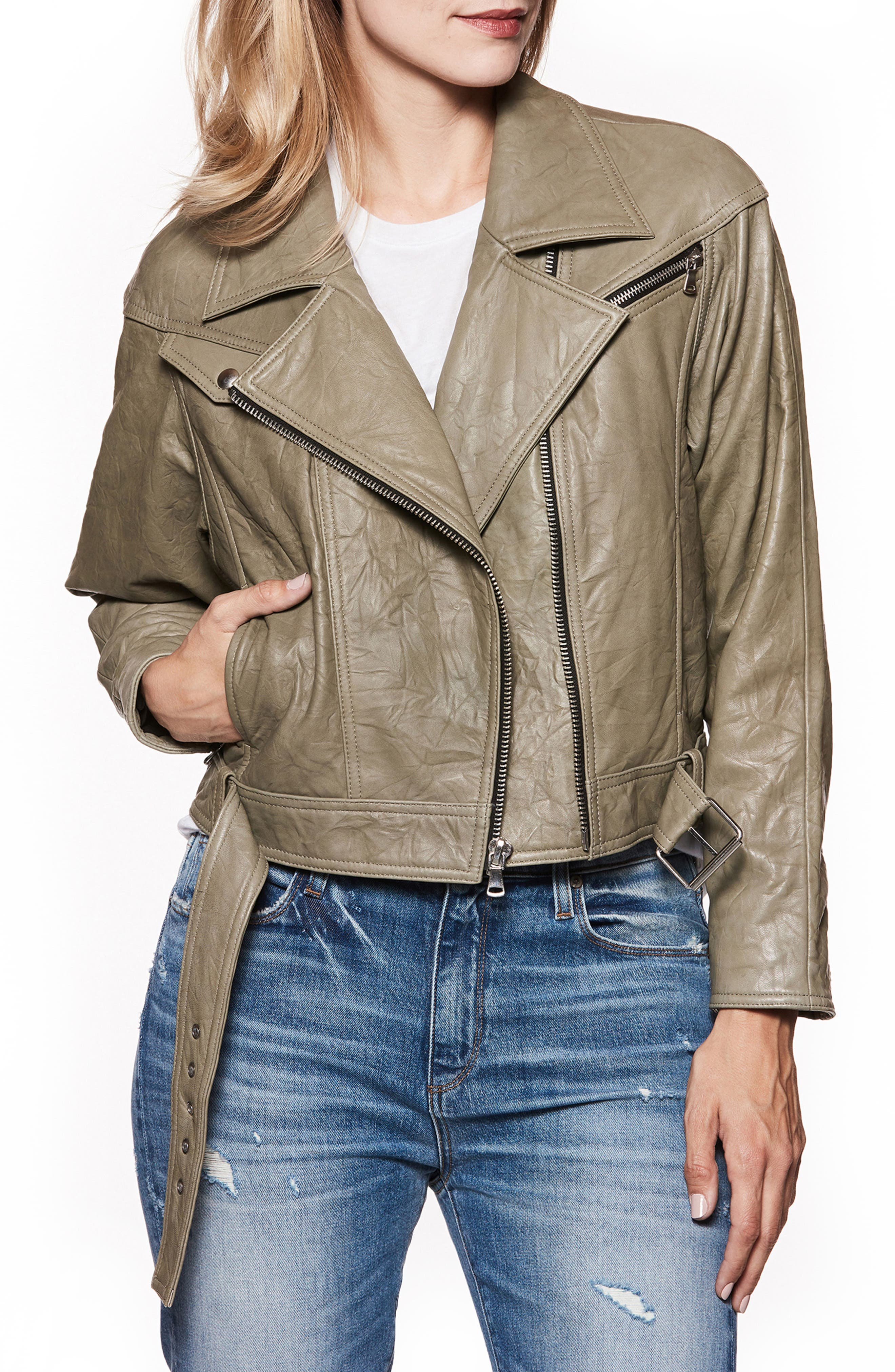 Sivan Leather Moto Jacket,                         Main,                         color, Spring Moss
