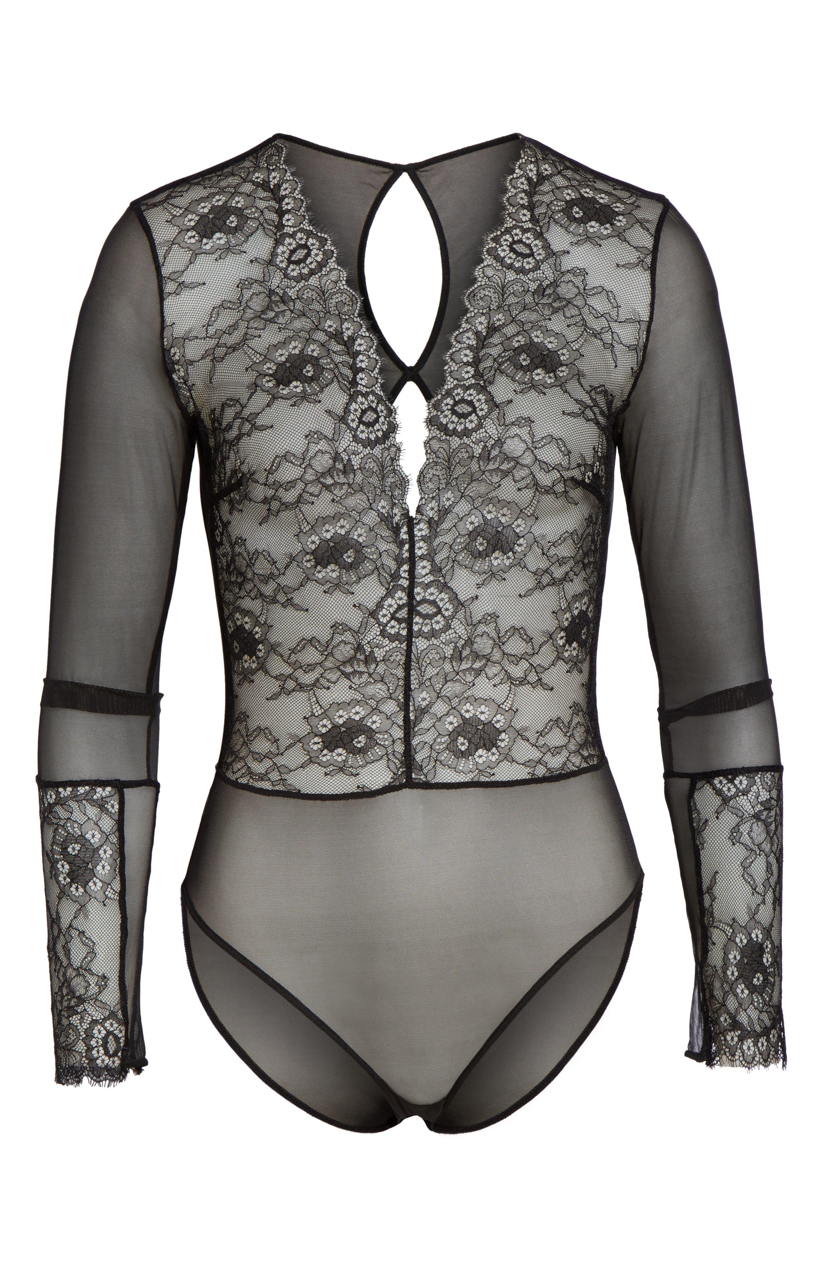 Dossa Lace & Mesh Bodysuit,                             Alternate thumbnail 4, color,                             Black