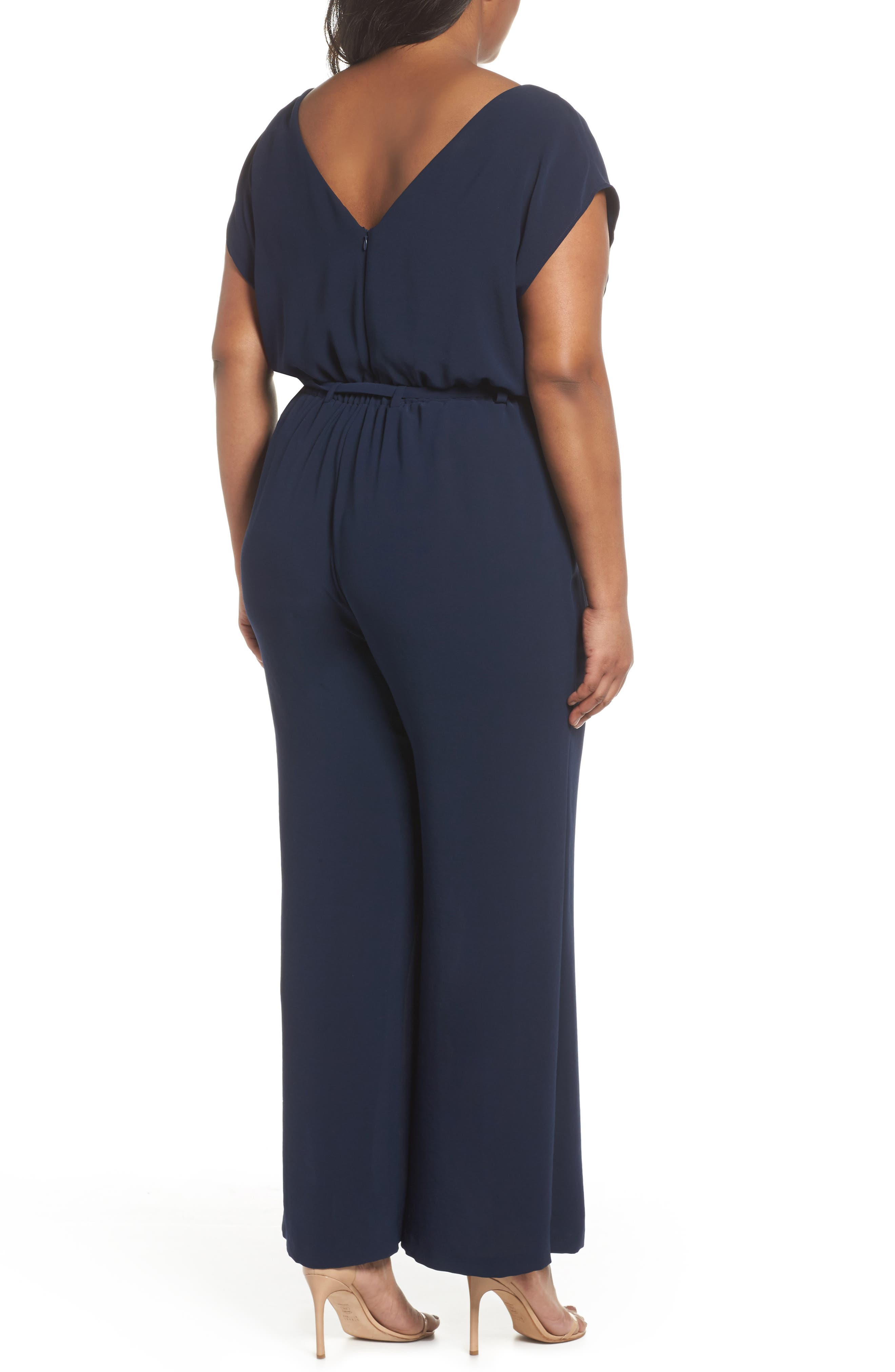 Alternate Image 3  - Adrianna Papell Crepe Belted Jumpsuit (Plus Size)