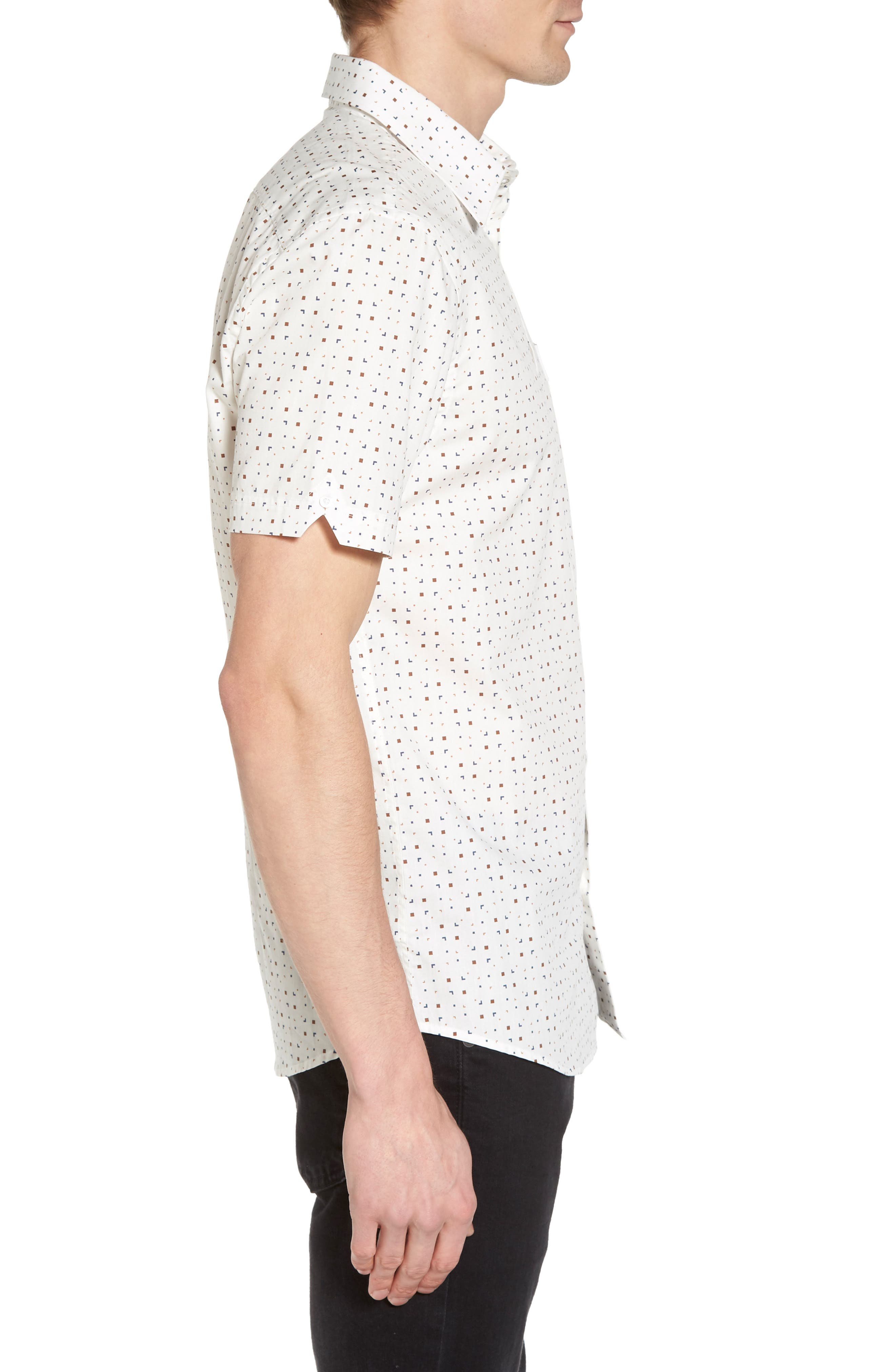 Scattered Geo Woven Shirt,                             Alternate thumbnail 3, color,                             Off White