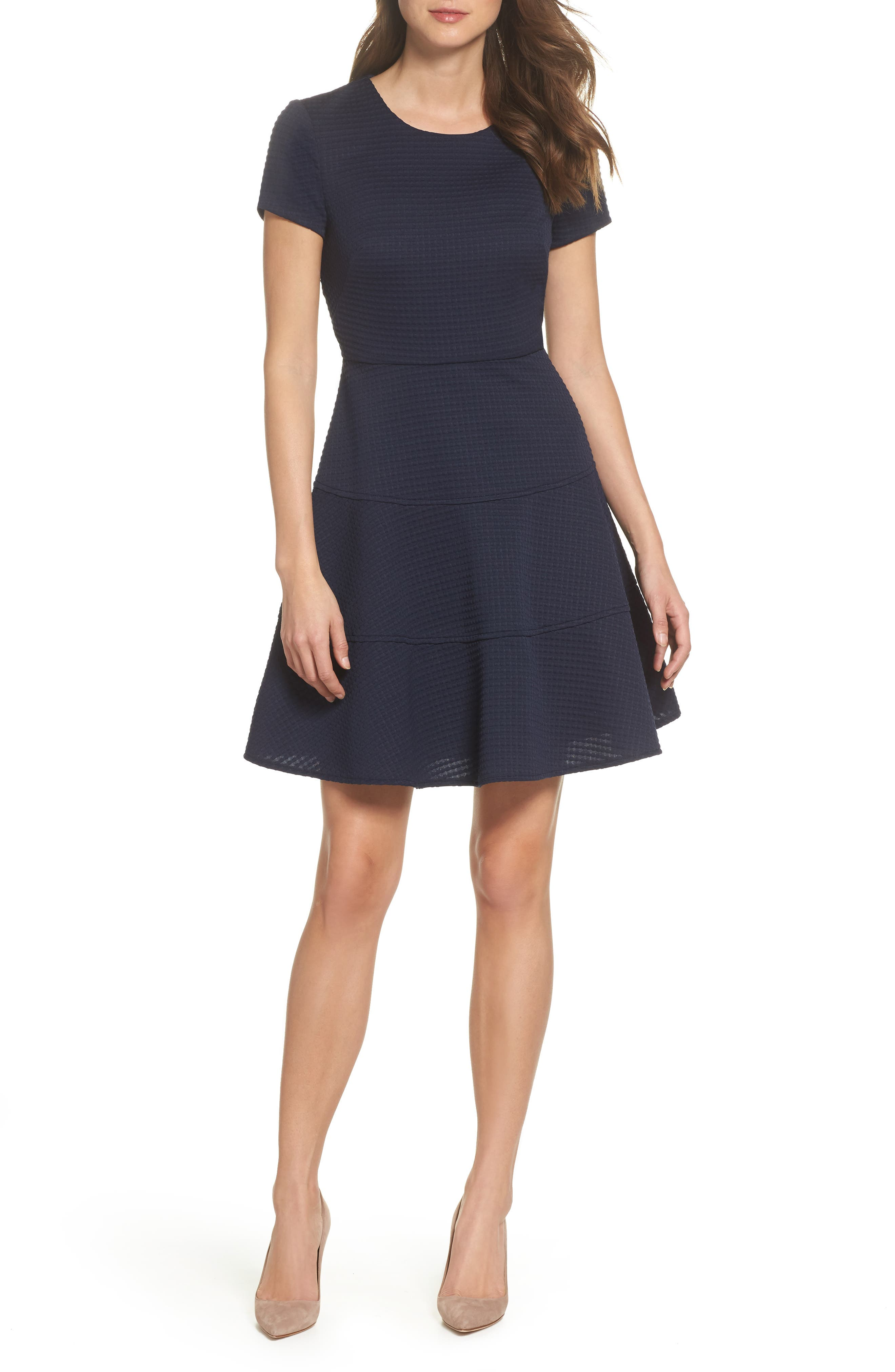 Fit & Flare Dress,                             Main thumbnail 1, color,                             Navy