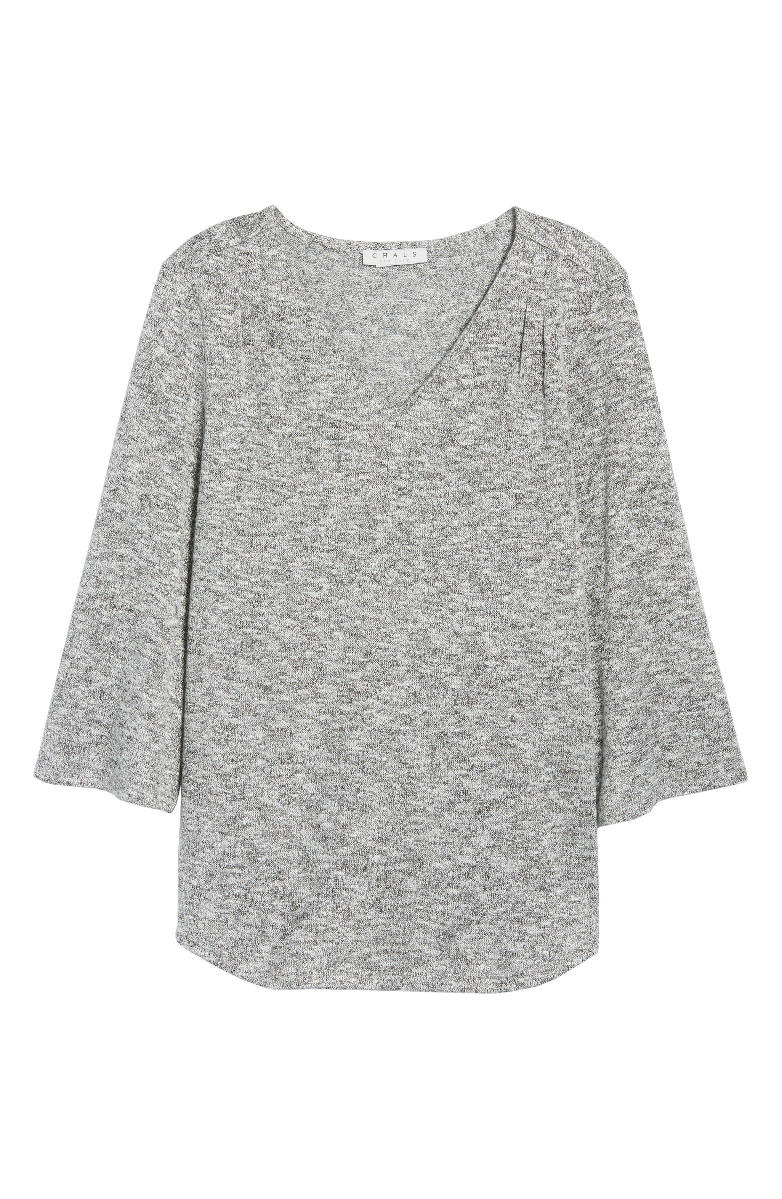 Sparkle Heathered V-Neck Top,                             Alternate thumbnail 6, color,                             050-Grey Heather