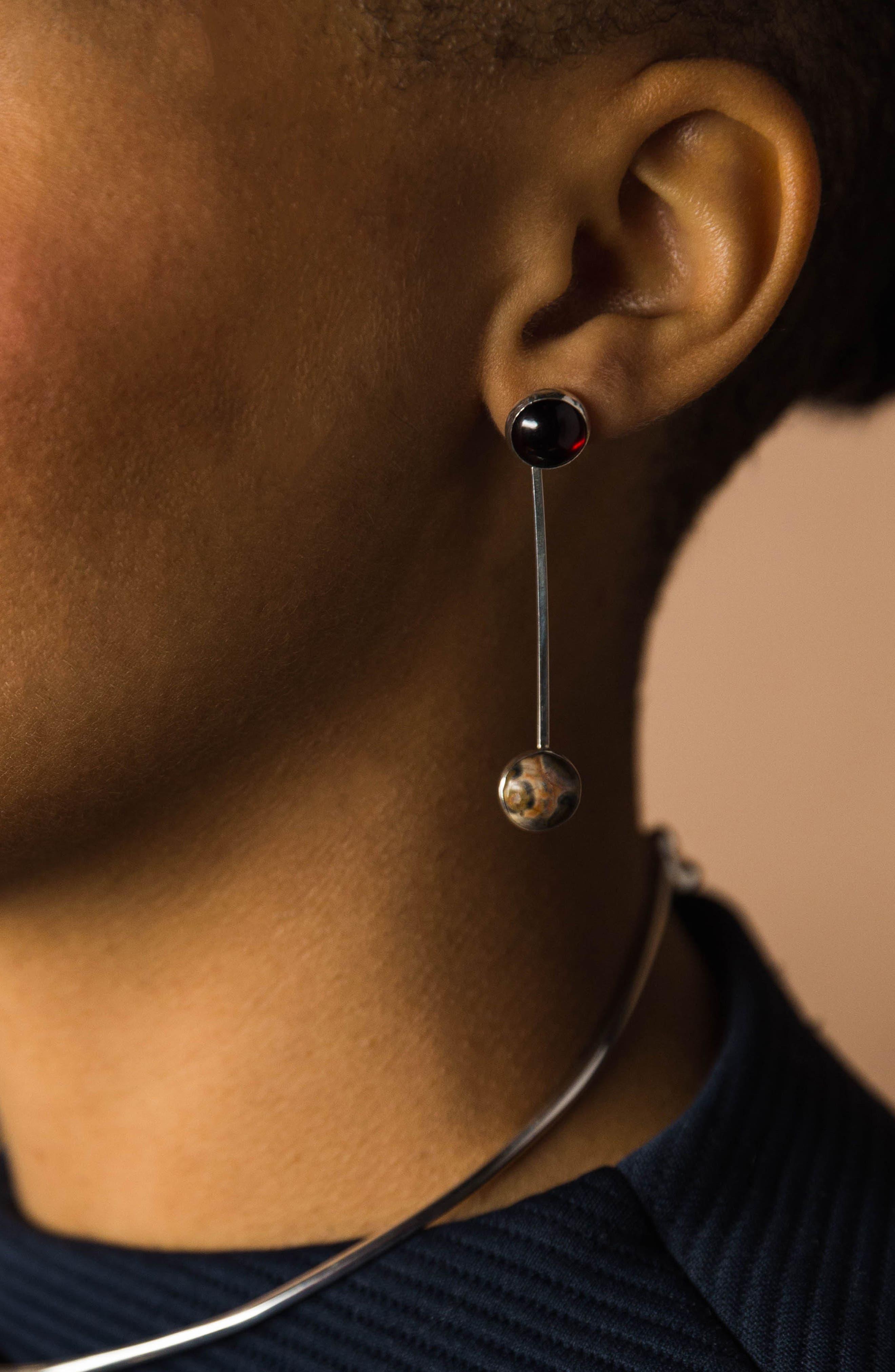Sway Earring,                             Alternate thumbnail 2, color,                             Onyx/ Leopard