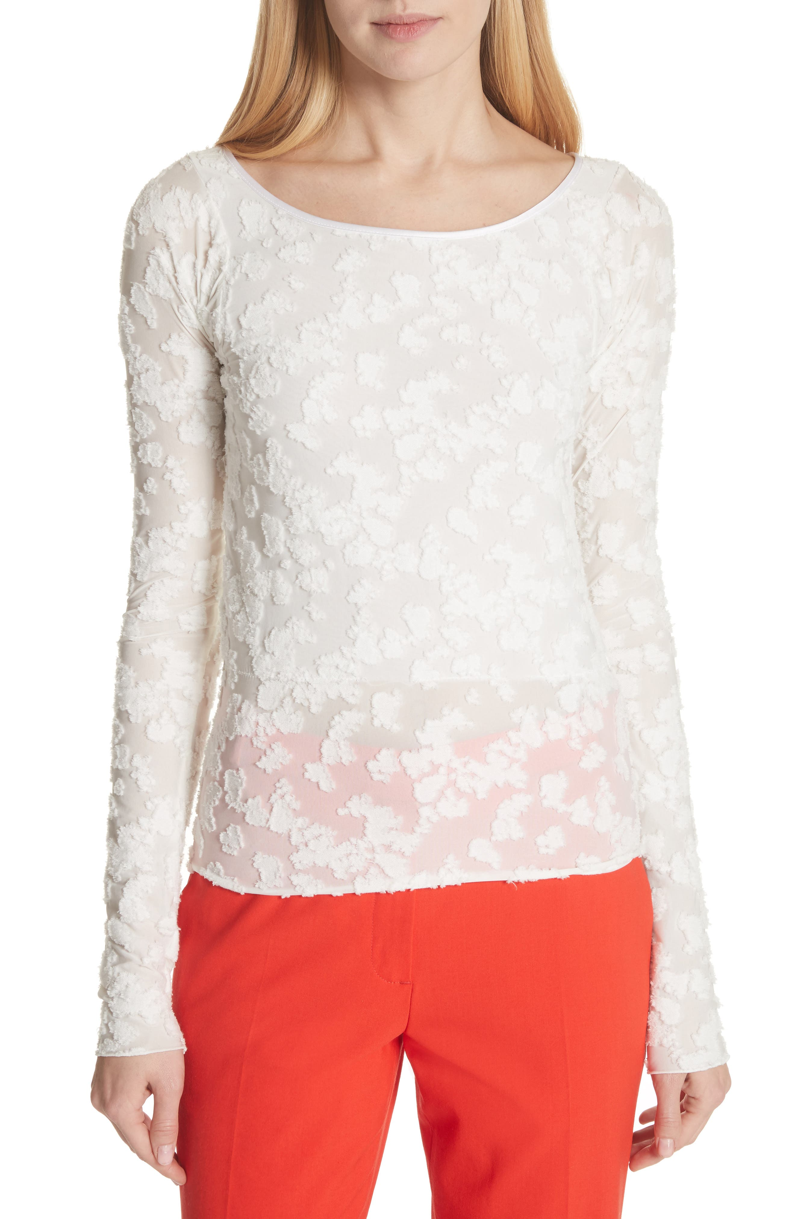 Lucie Floral Jacquard Sweater,                         Main,                         color, White