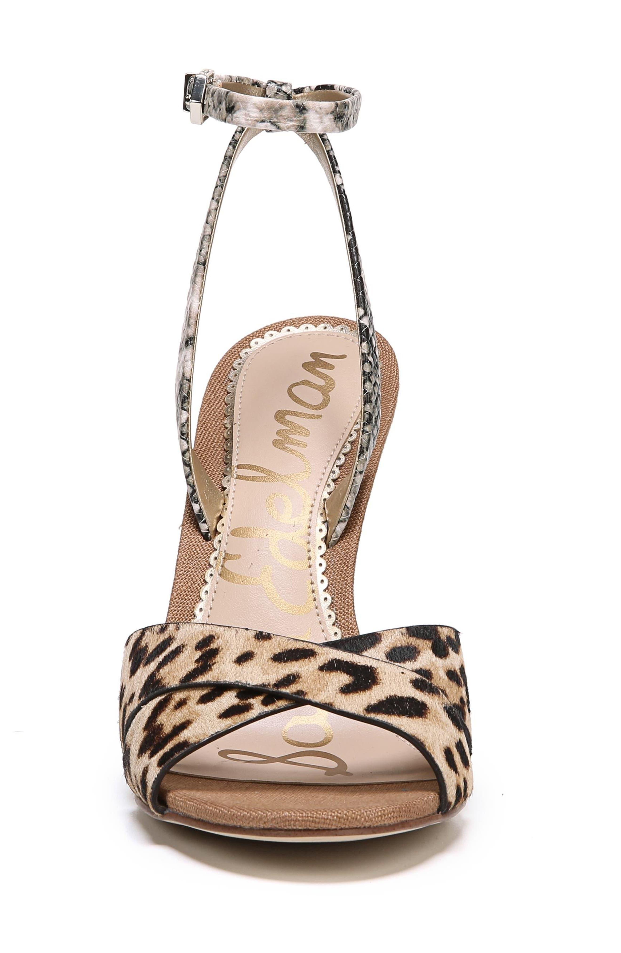 Aly Ankle Strap Sandal,                             Alternate thumbnail 4, color,                             Leopard Print Calf Hair