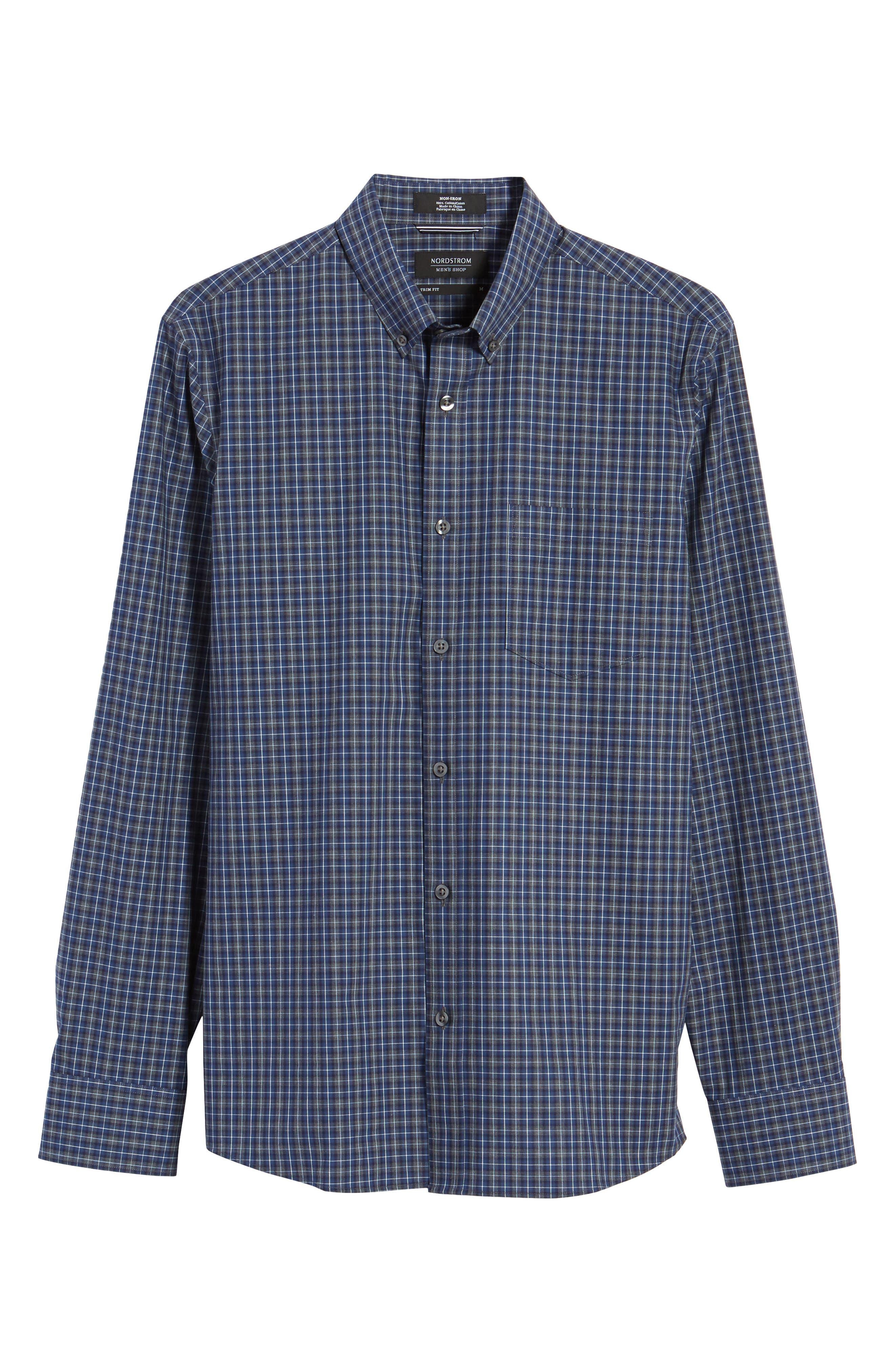 Trim Fit Check Sport Shirt,                             Alternate thumbnail 6, color,                             Navy Peacoat Grey Check
