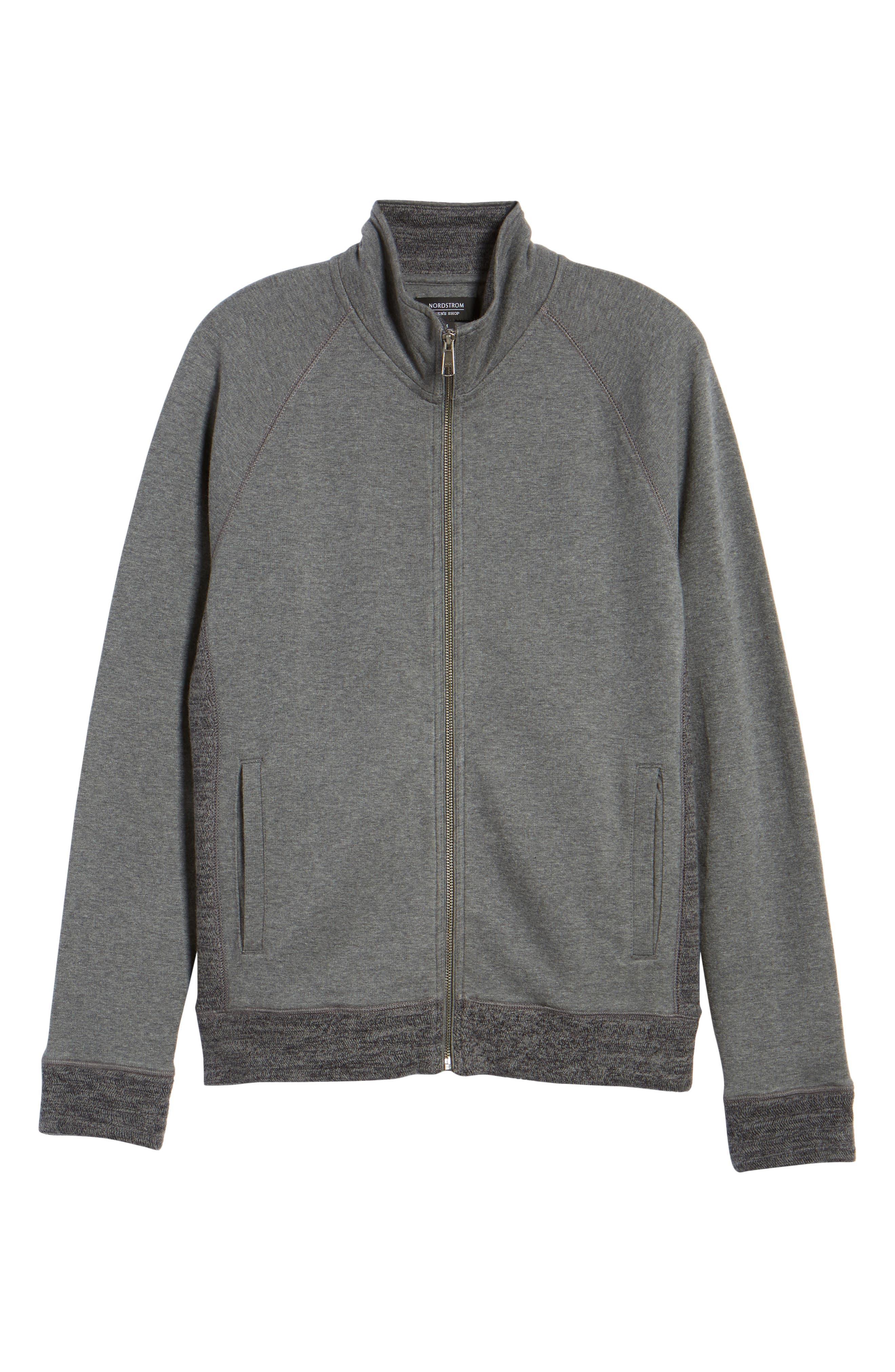 Full Zip Fleece Jacket,                             Alternate thumbnail 6, color,                             Charcoal Heather