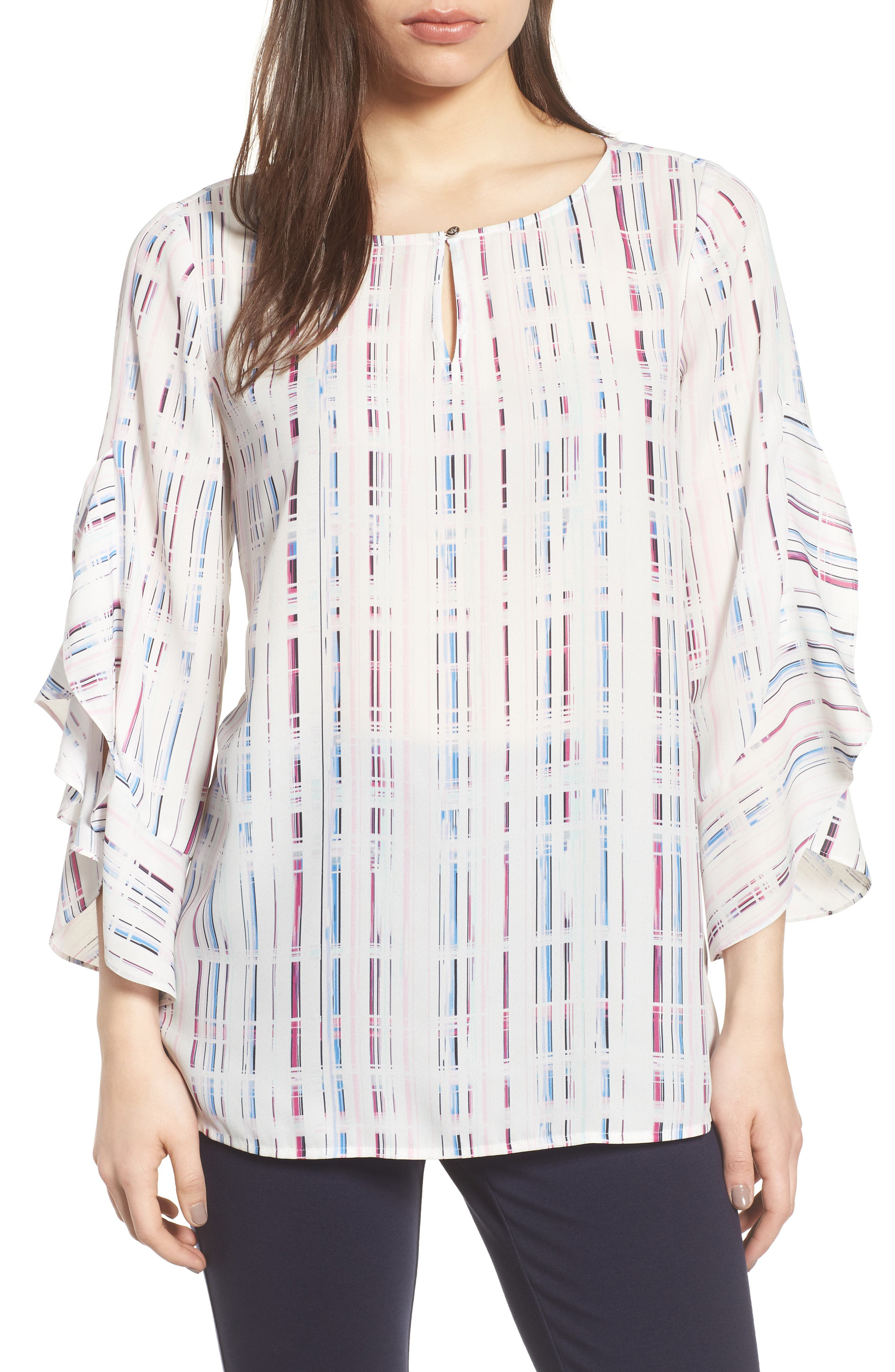 Prism Grid Print Blouse,                         Main,                         color, 103-New Ivory