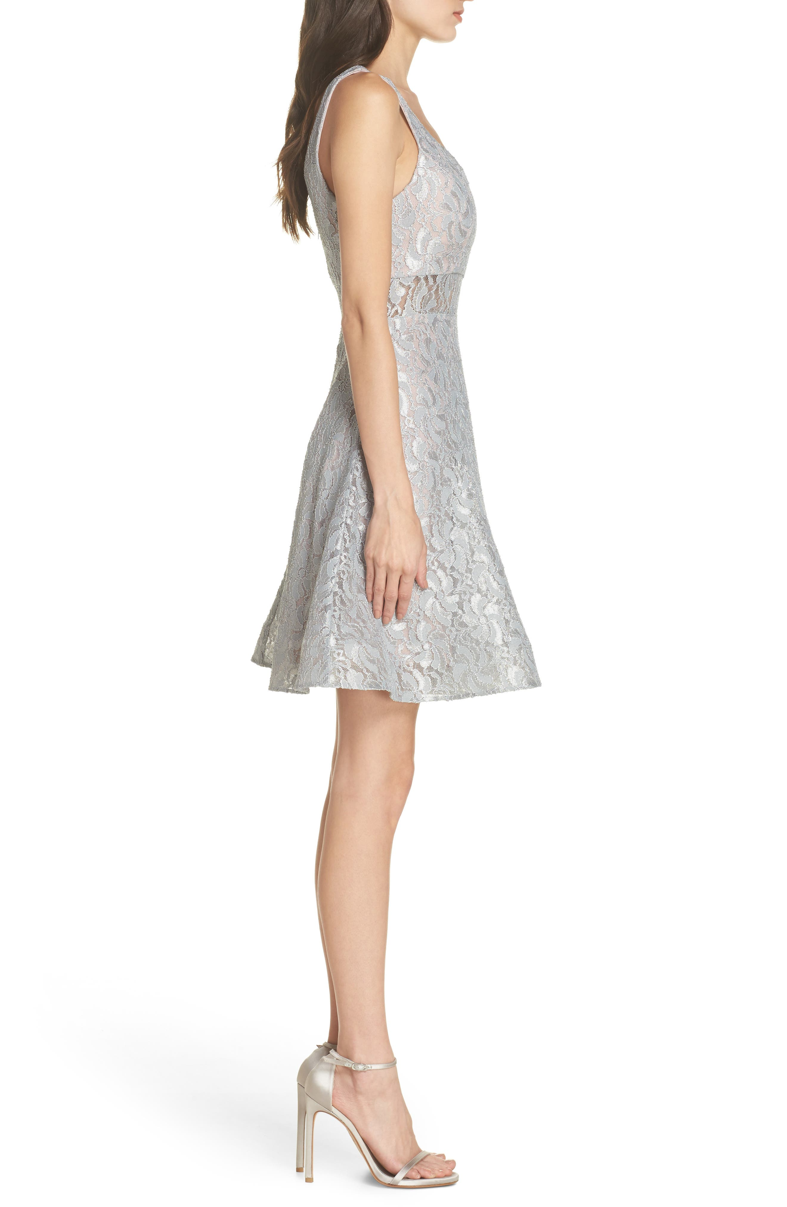 Illusion Waist Lace Fit & Flare Dress,                             Alternate thumbnail 3, color,                             Silver