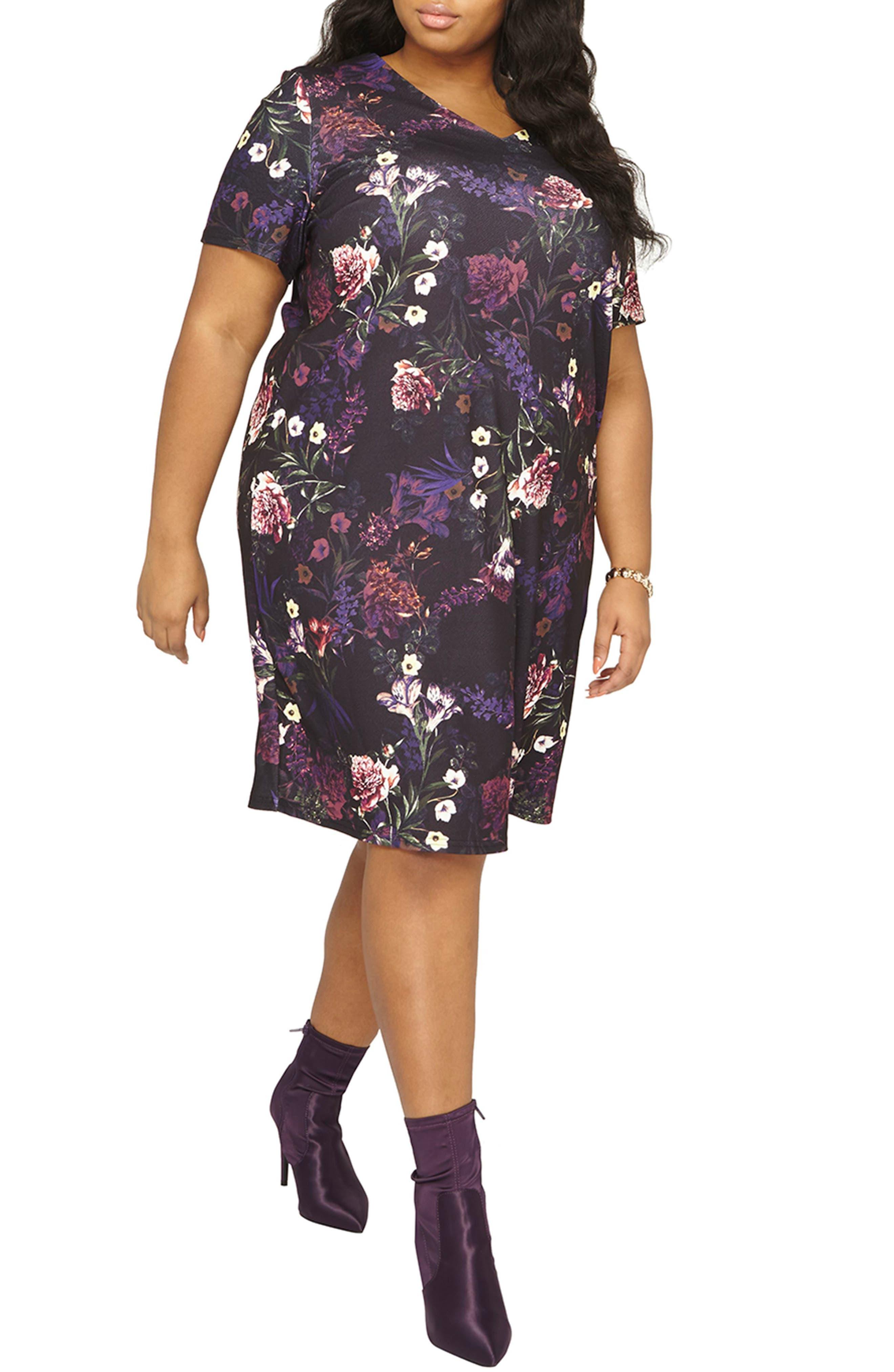 Floral Print Shift Dress,                         Main,                         color, Purple