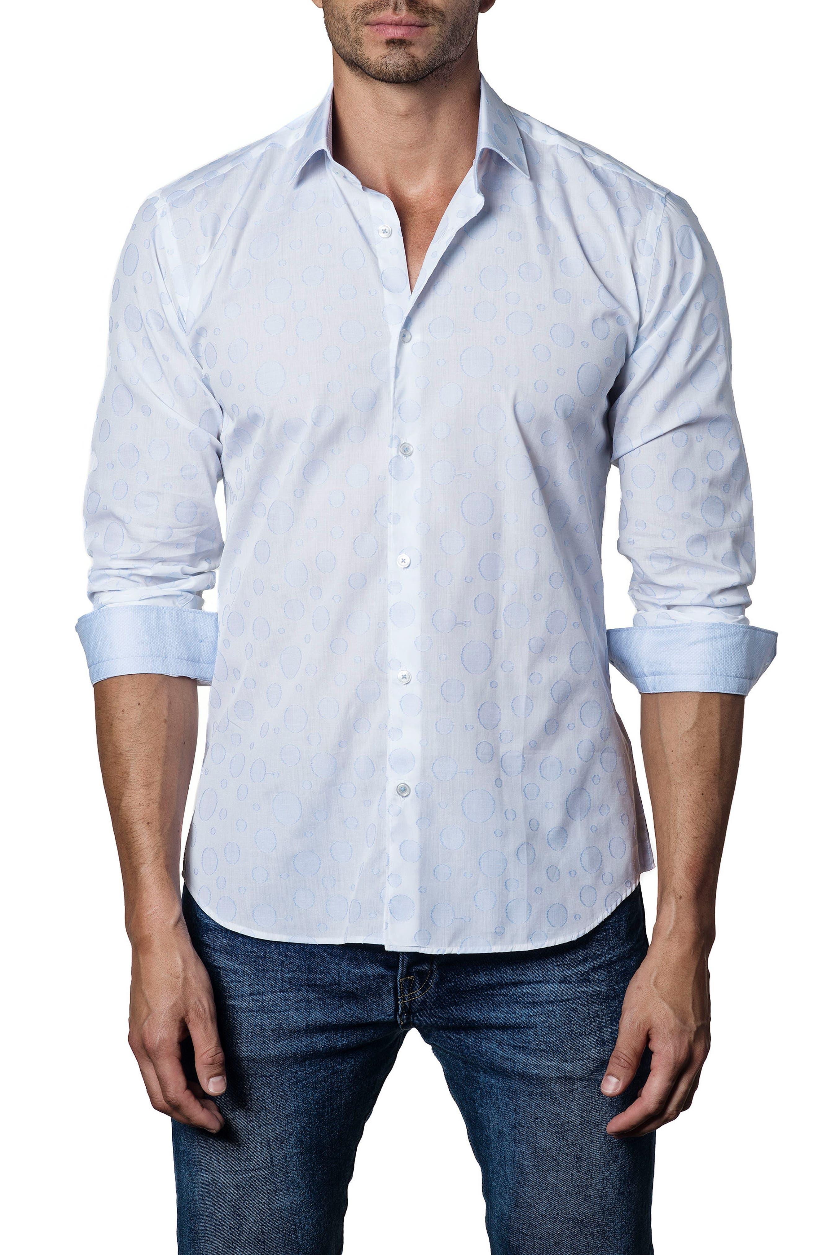 Slim Fit Circle Sport Shirt,                             Main thumbnail 1, color,                             White - Sky Blue