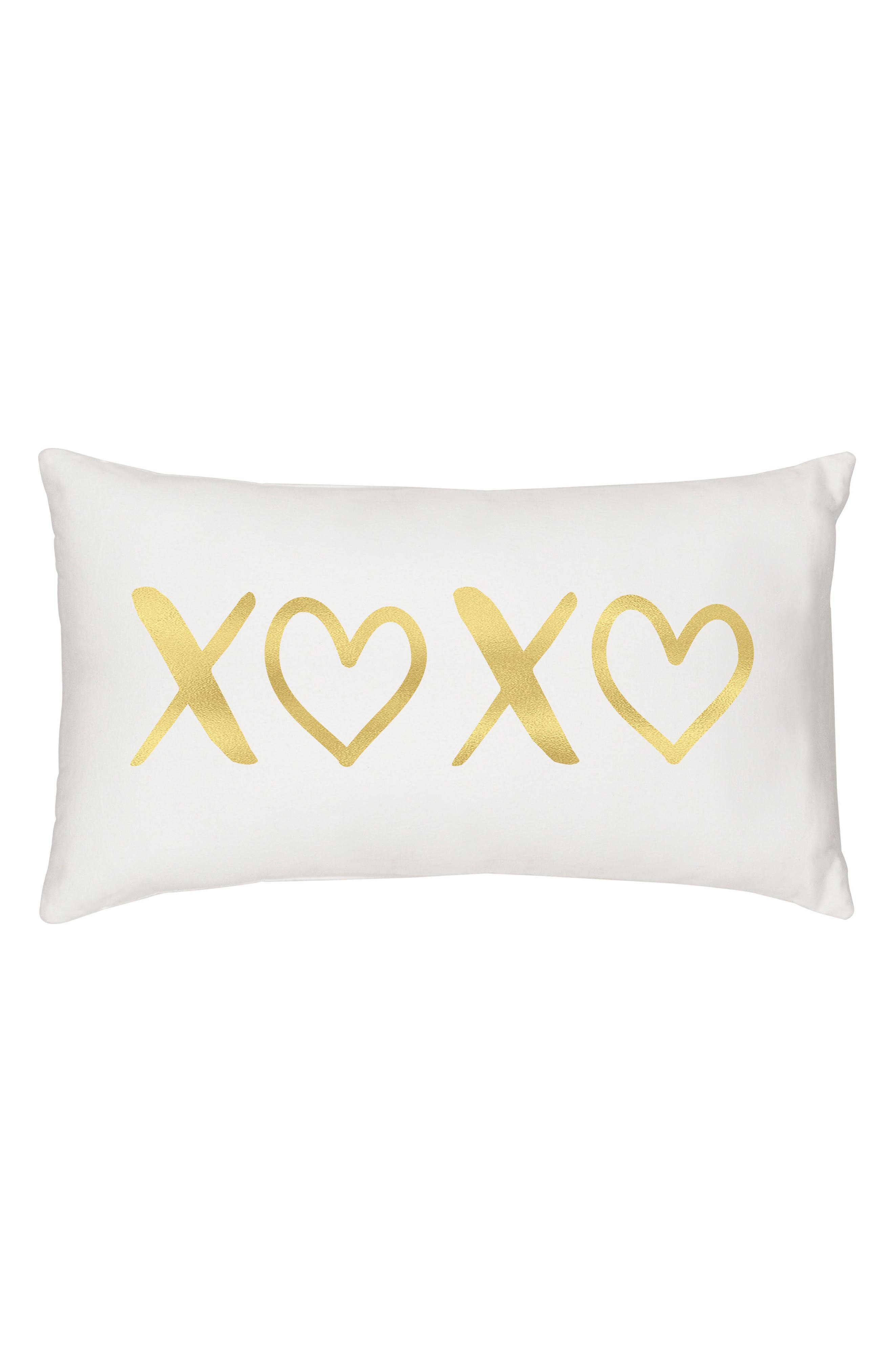 XOXO Accent Pillow,                             Main thumbnail 1, color,                             Gold