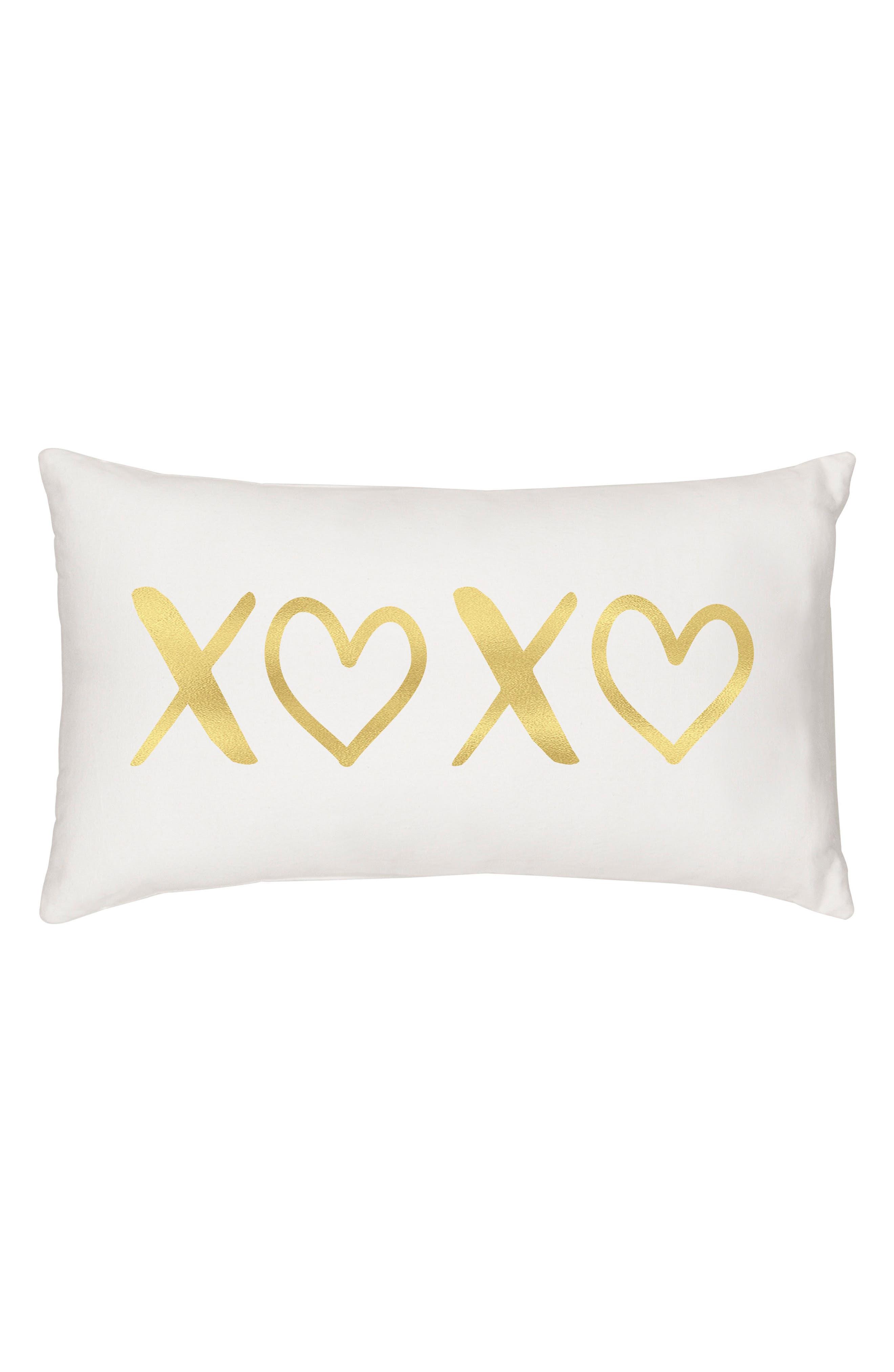 XOXO Accent Pillow,                         Main,                         color, Gold